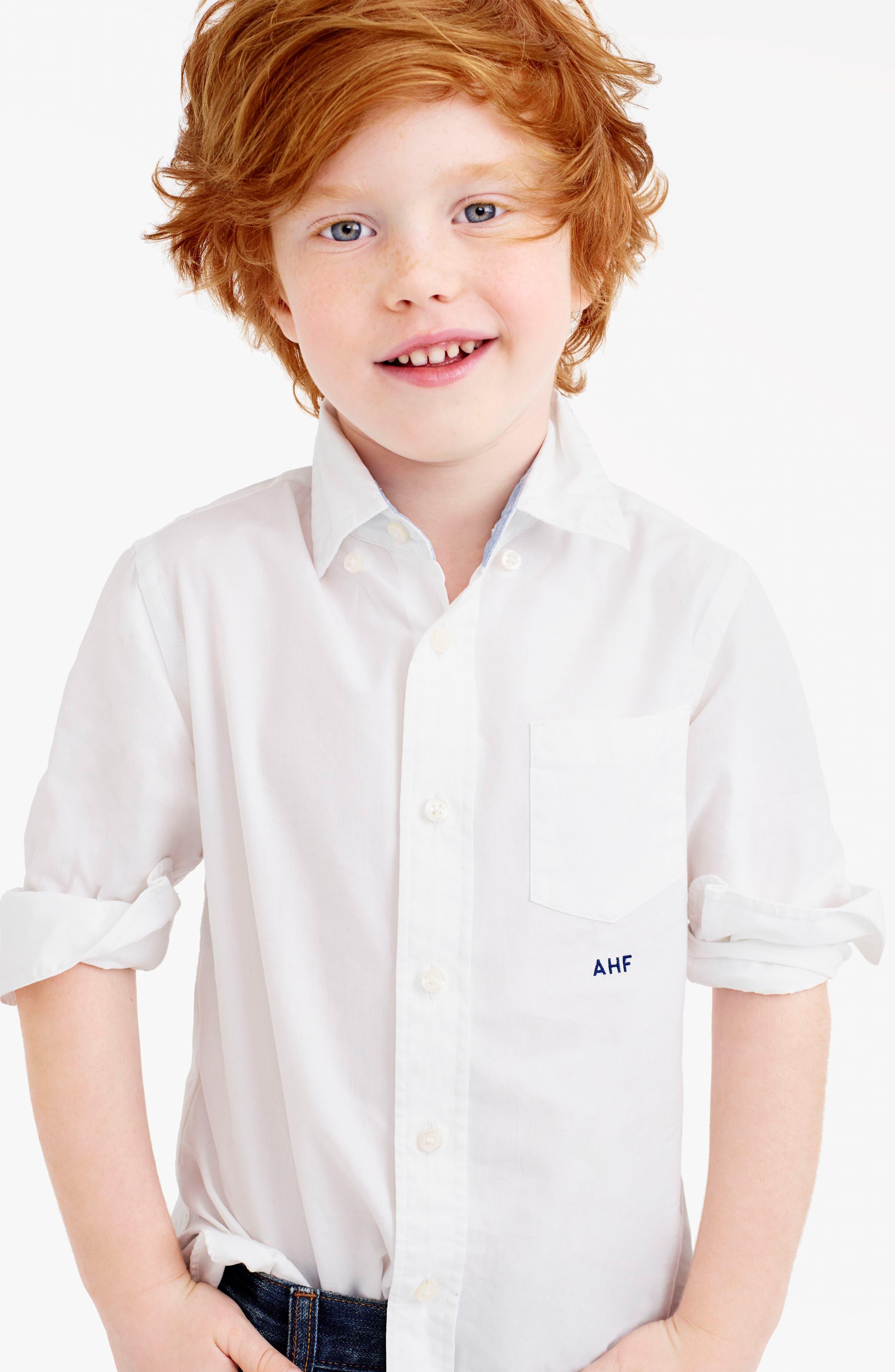 Everyday Button Down Sport Shirt,                             Alternate thumbnail 2, color,                             White