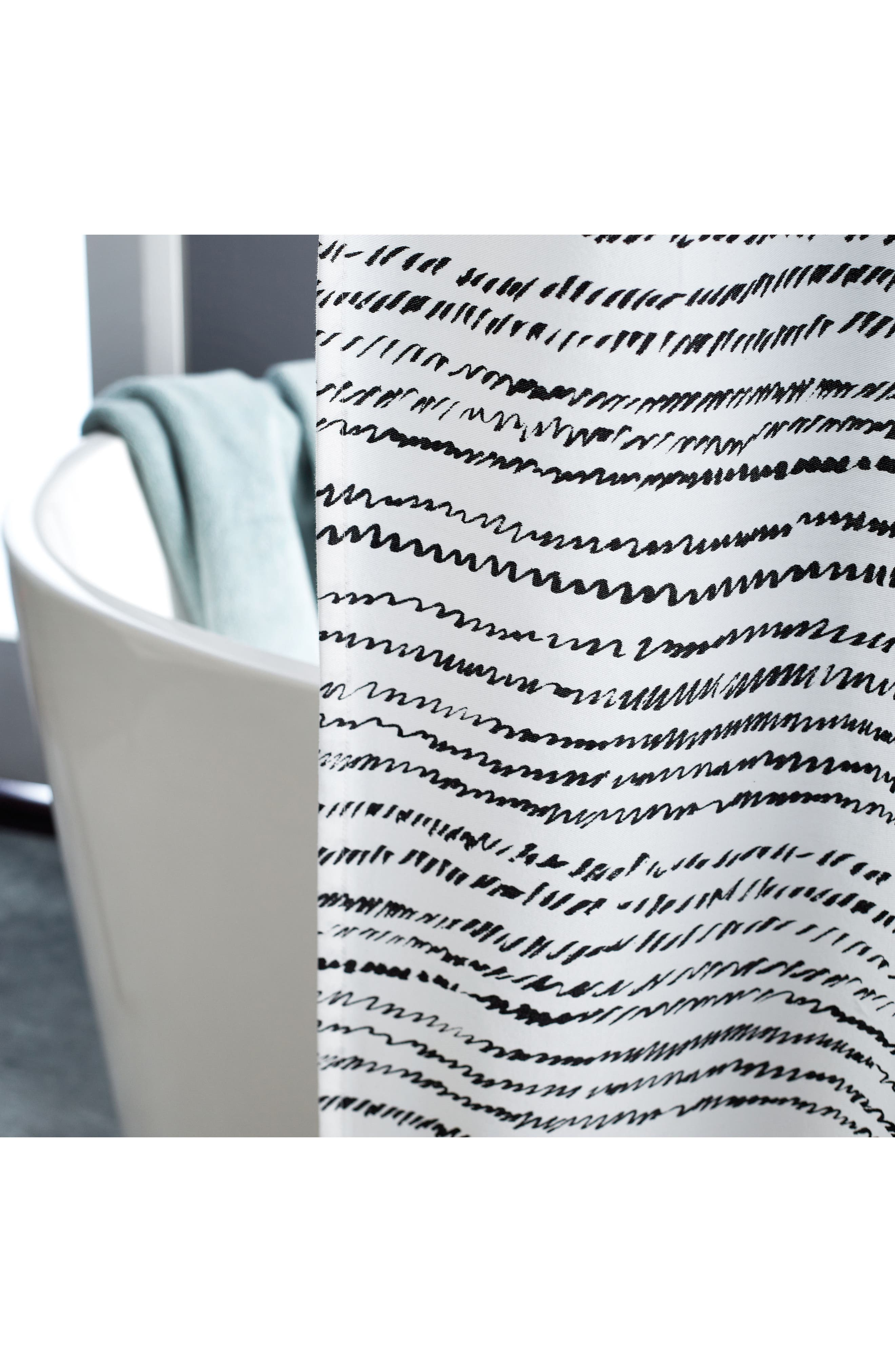 Vibe Shower Curtain,                             Alternate thumbnail 4, color,                             Black/ White