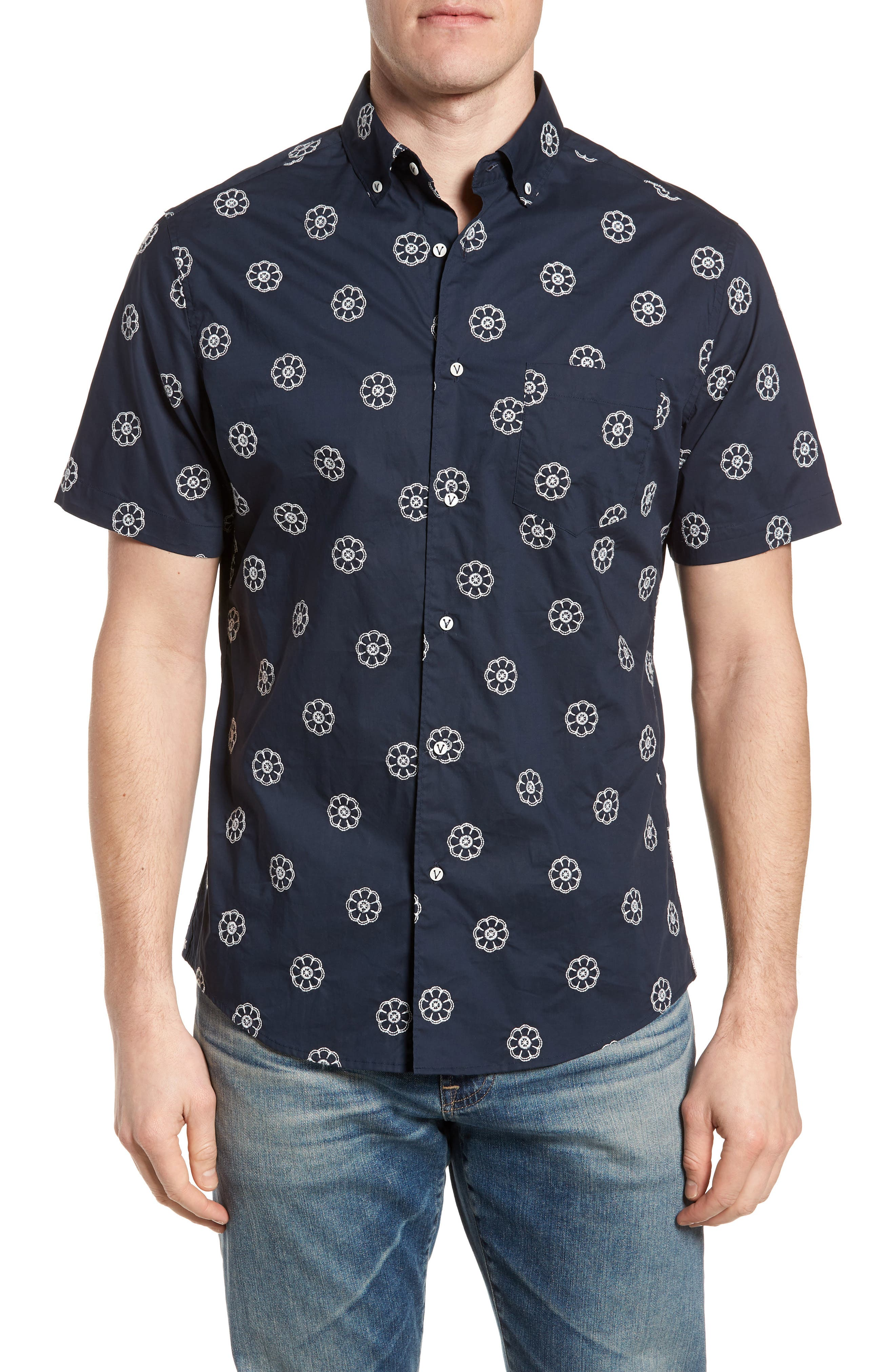 Embroidered Floral Poplin Shirt,                             Main thumbnail 1, color,                             Squid Ink W/ Canvas