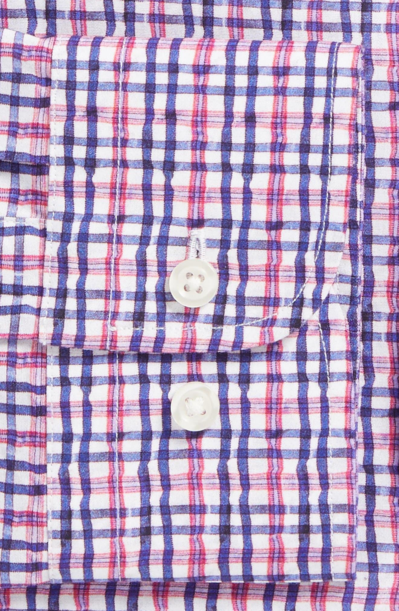 Trim Fit Plaid Dress Shirt,                             Alternate thumbnail 5, color,                             Pink Raspberry