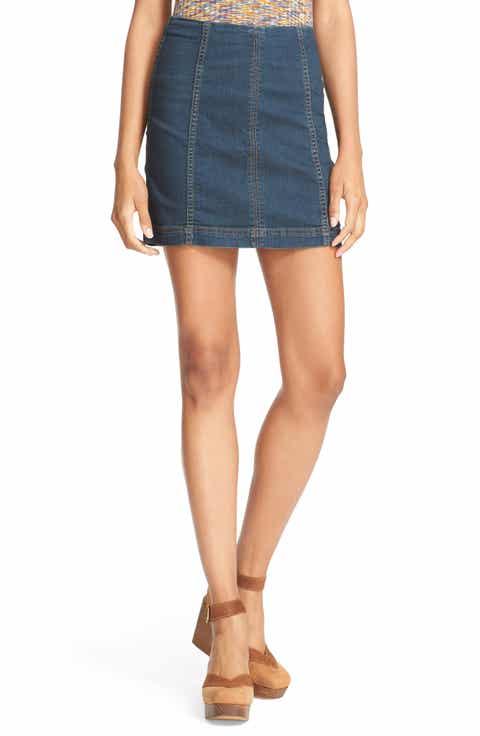 Free People 'Modern Femme' Denim Miniskirt (Denim Blue)