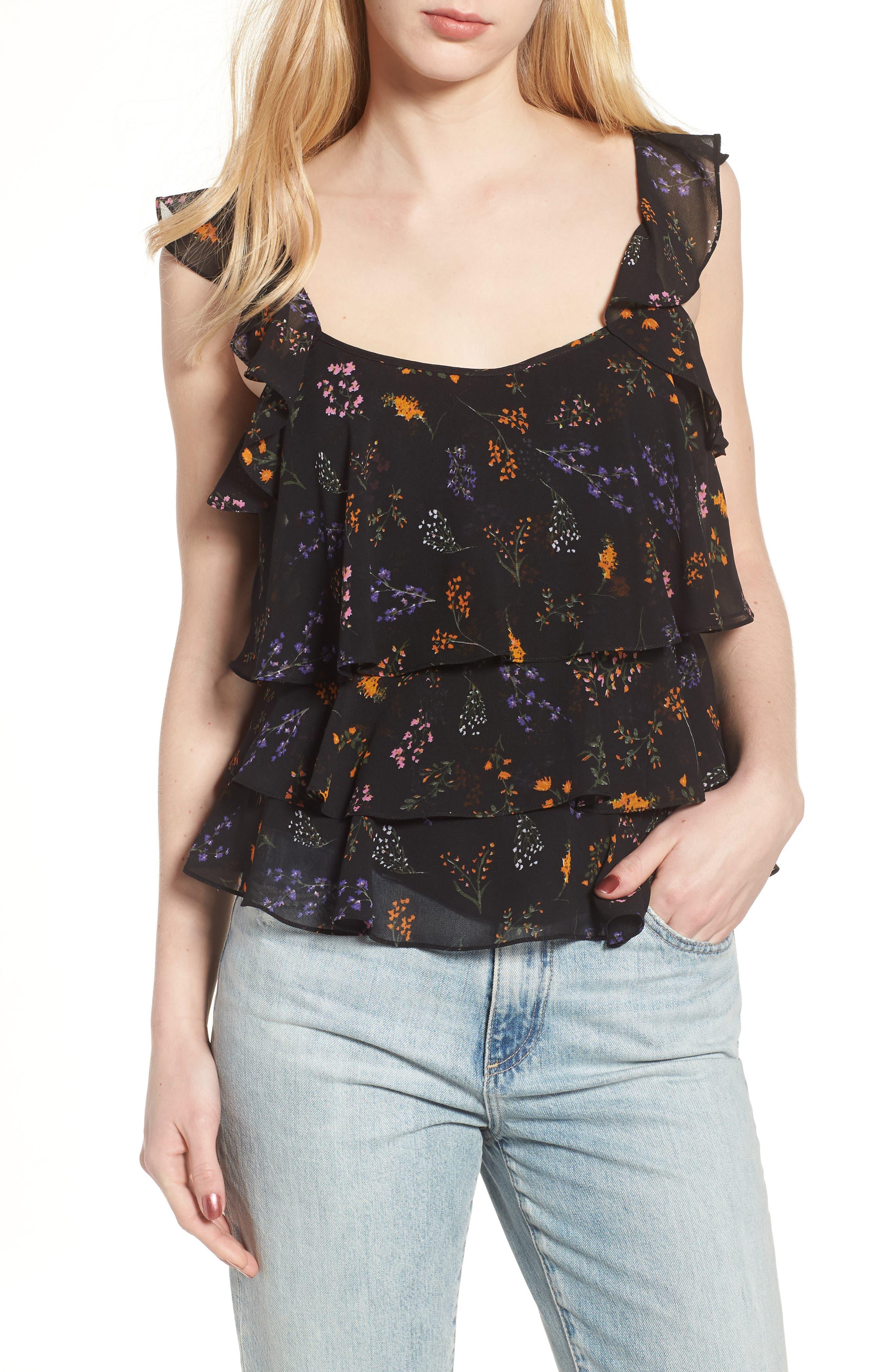Alexis Top,                         Main,                         color, Black Floral