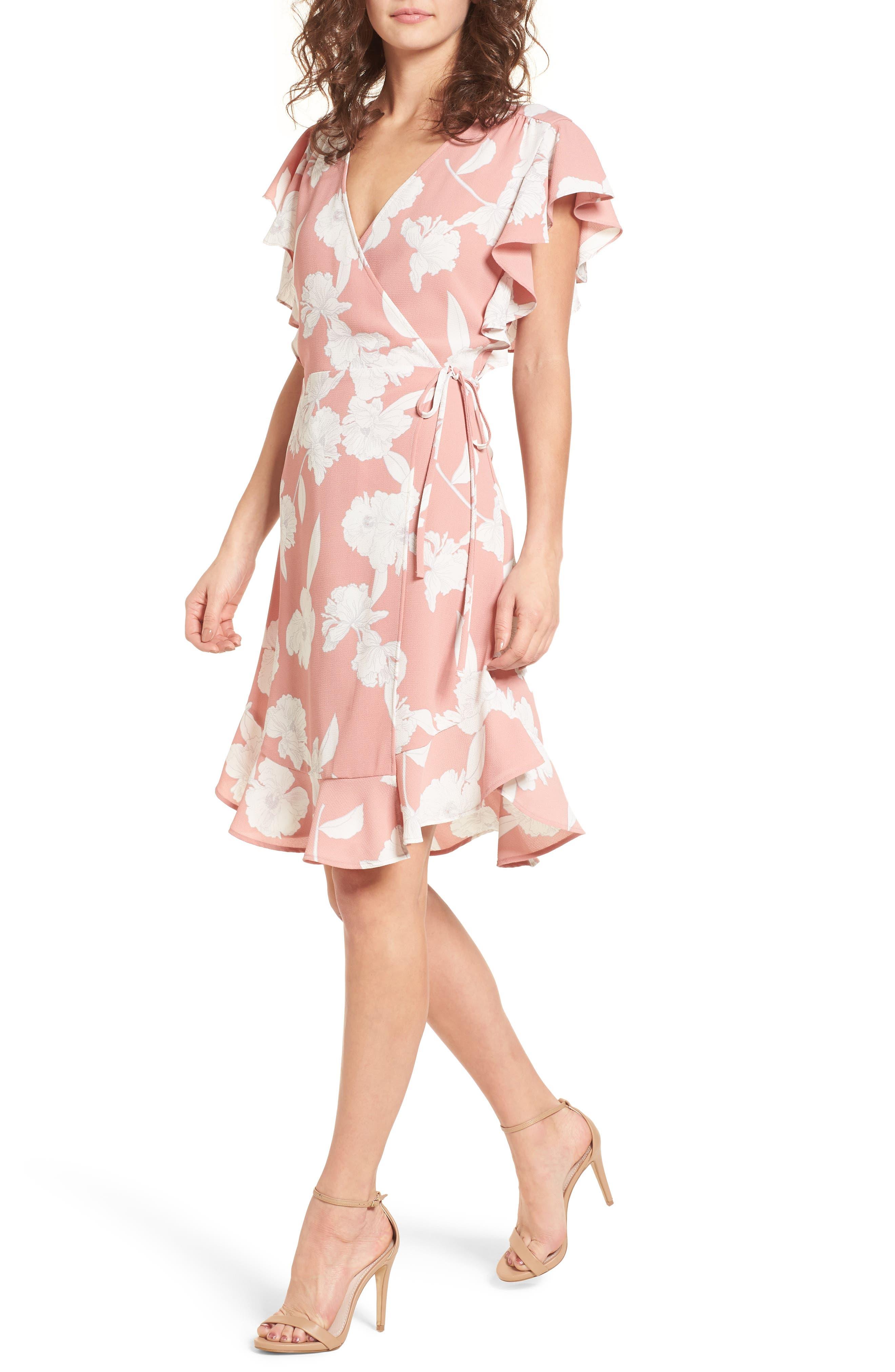Ruffle Wrap Dress,                             Main thumbnail 1, color,                             Blush/ Ivory