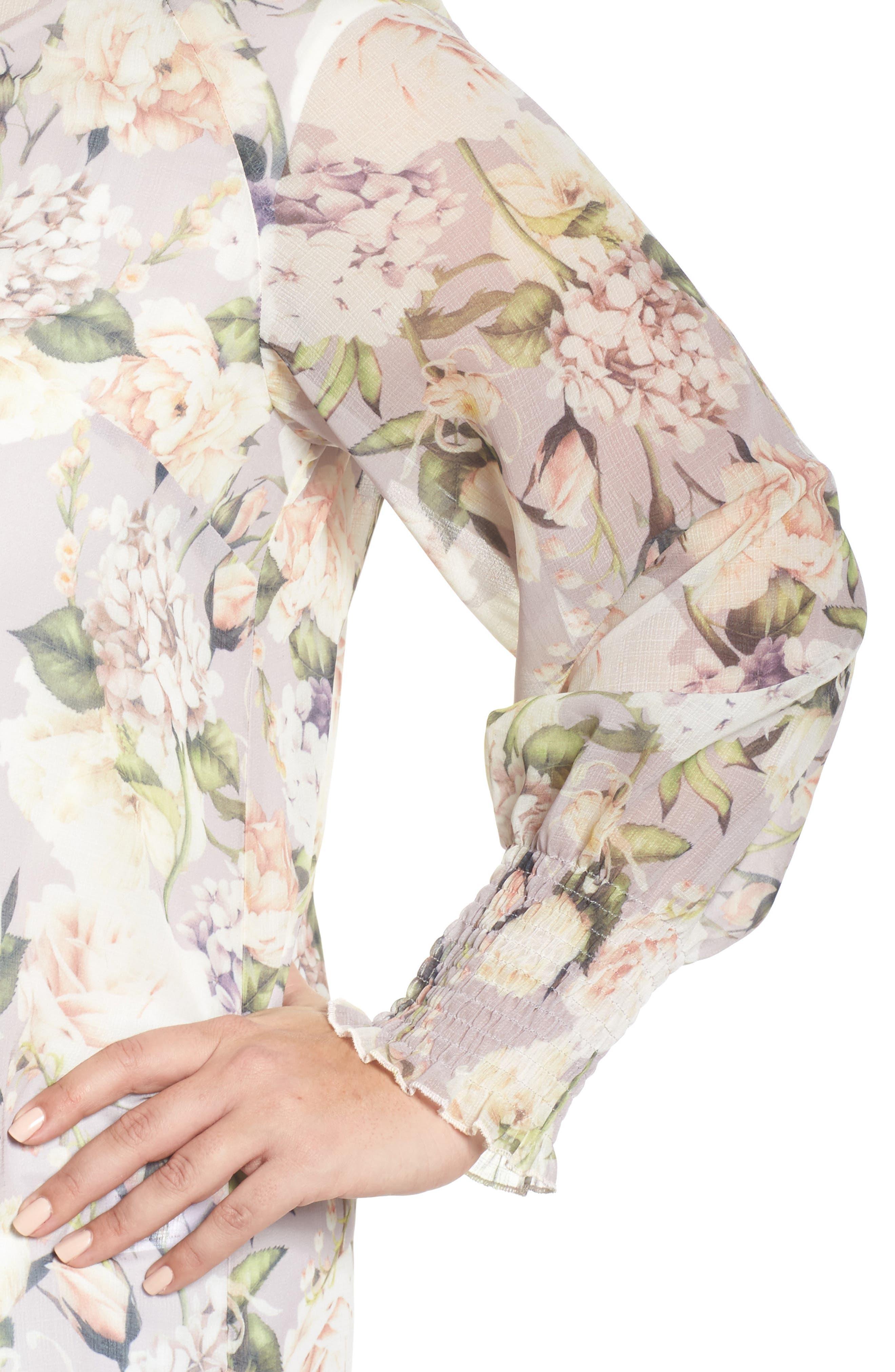 The Talinum Floral Zip Shirt,                             Alternate thumbnail 4, color,                             Purple
