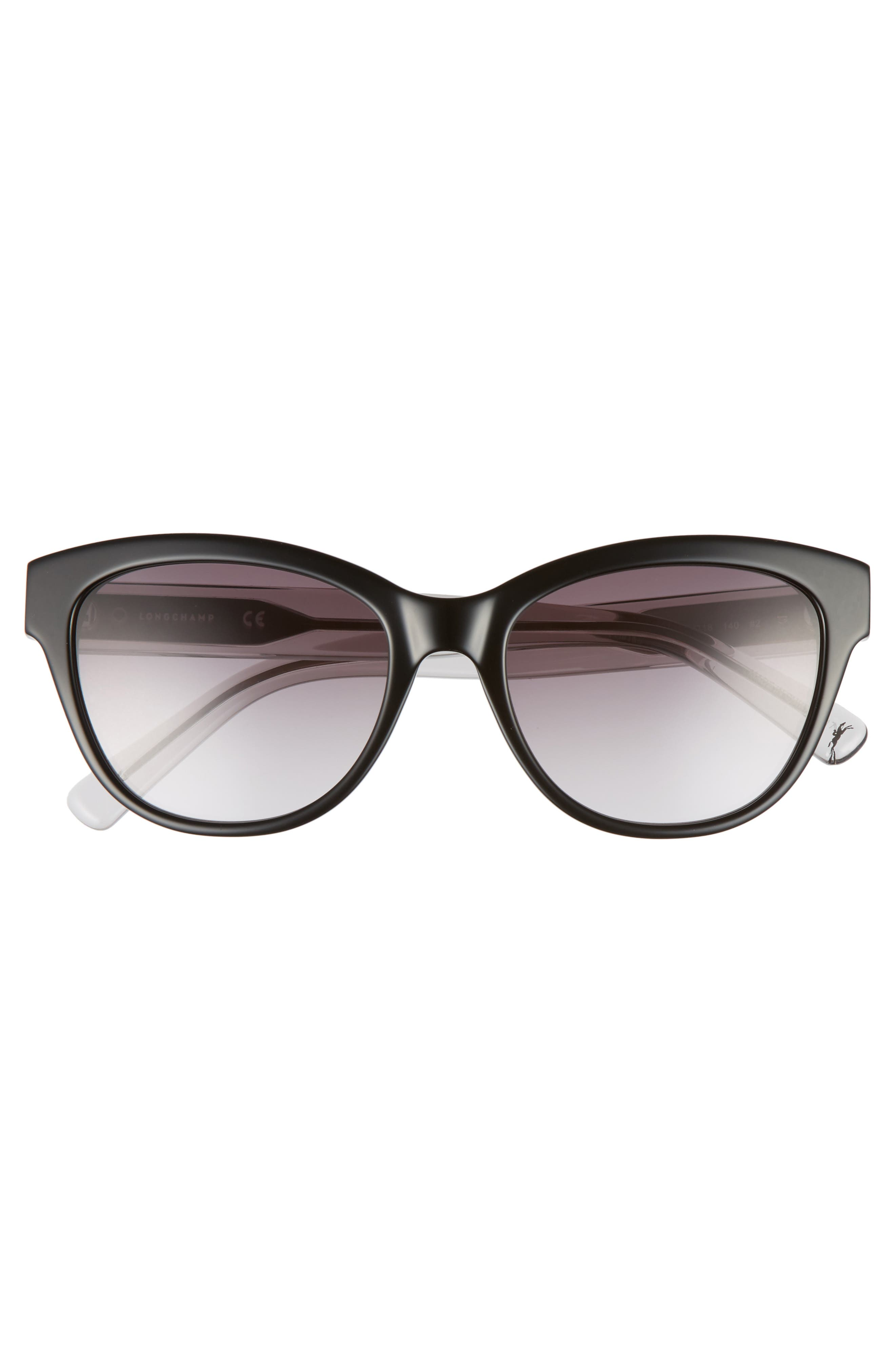 54mm Gradient Lens Sunglasses,                             Alternate thumbnail 3, color,                             Black