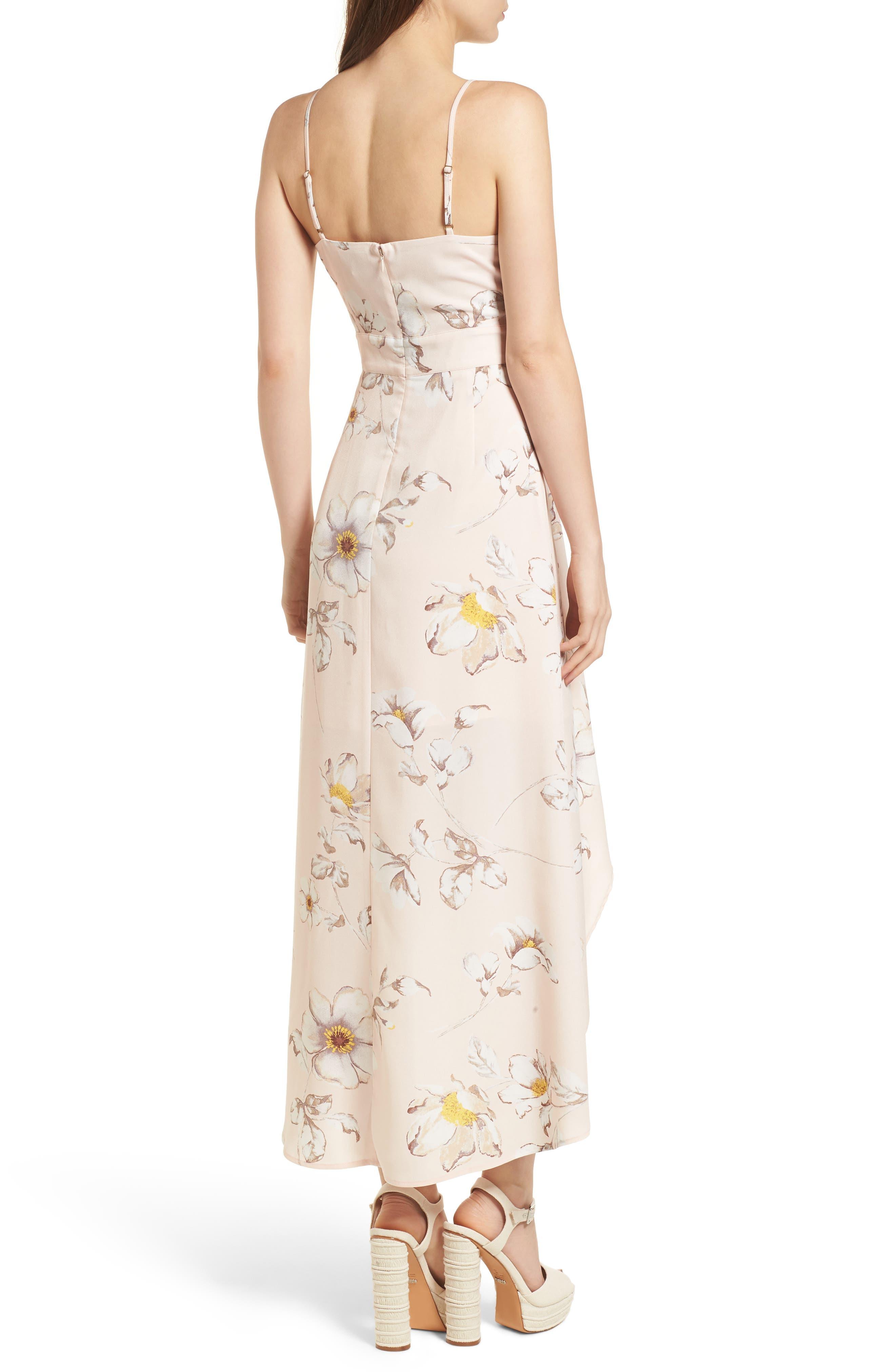 Faux Wrap Midi Dress,                             Alternate thumbnail 3, color,                             Blush Floral
