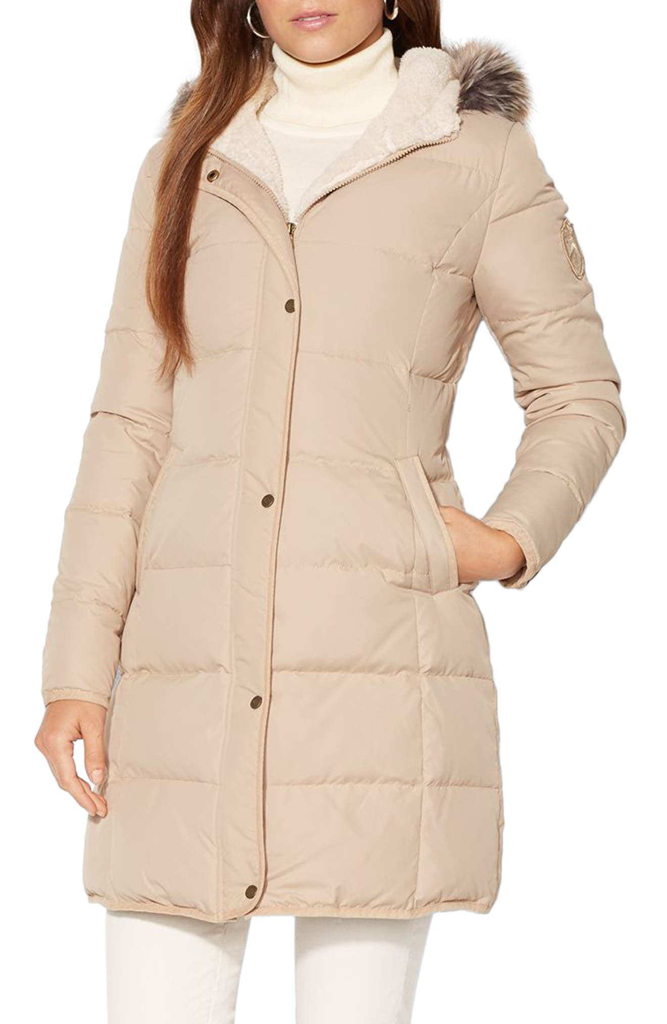 Quilted Down & Feather Jacket with Faux Fur Trim,                         Main,                         color, Racing Khaki