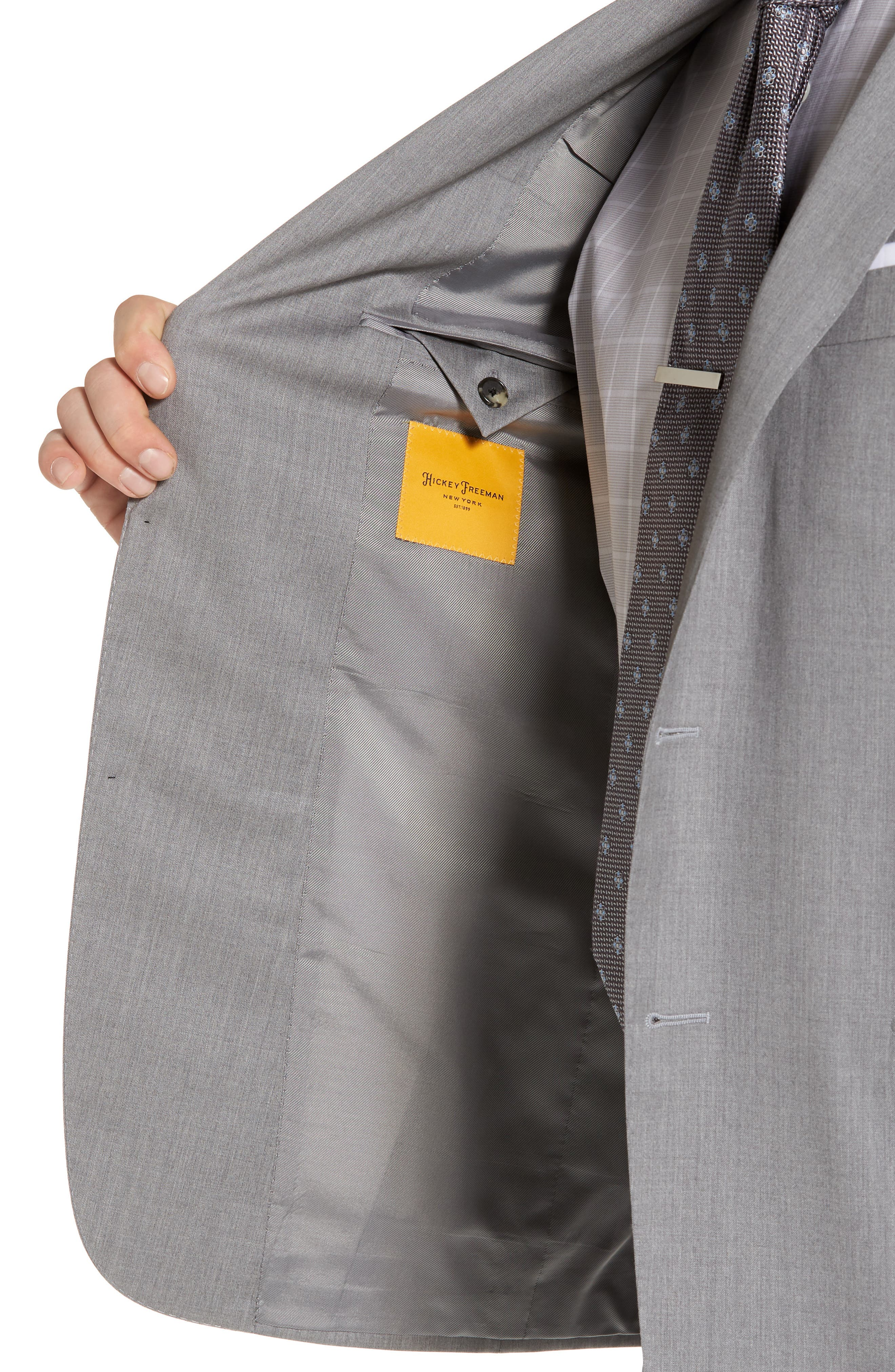 Classic B Fit Solid Wool Suit,                             Alternate thumbnail 4, color,                             Grey