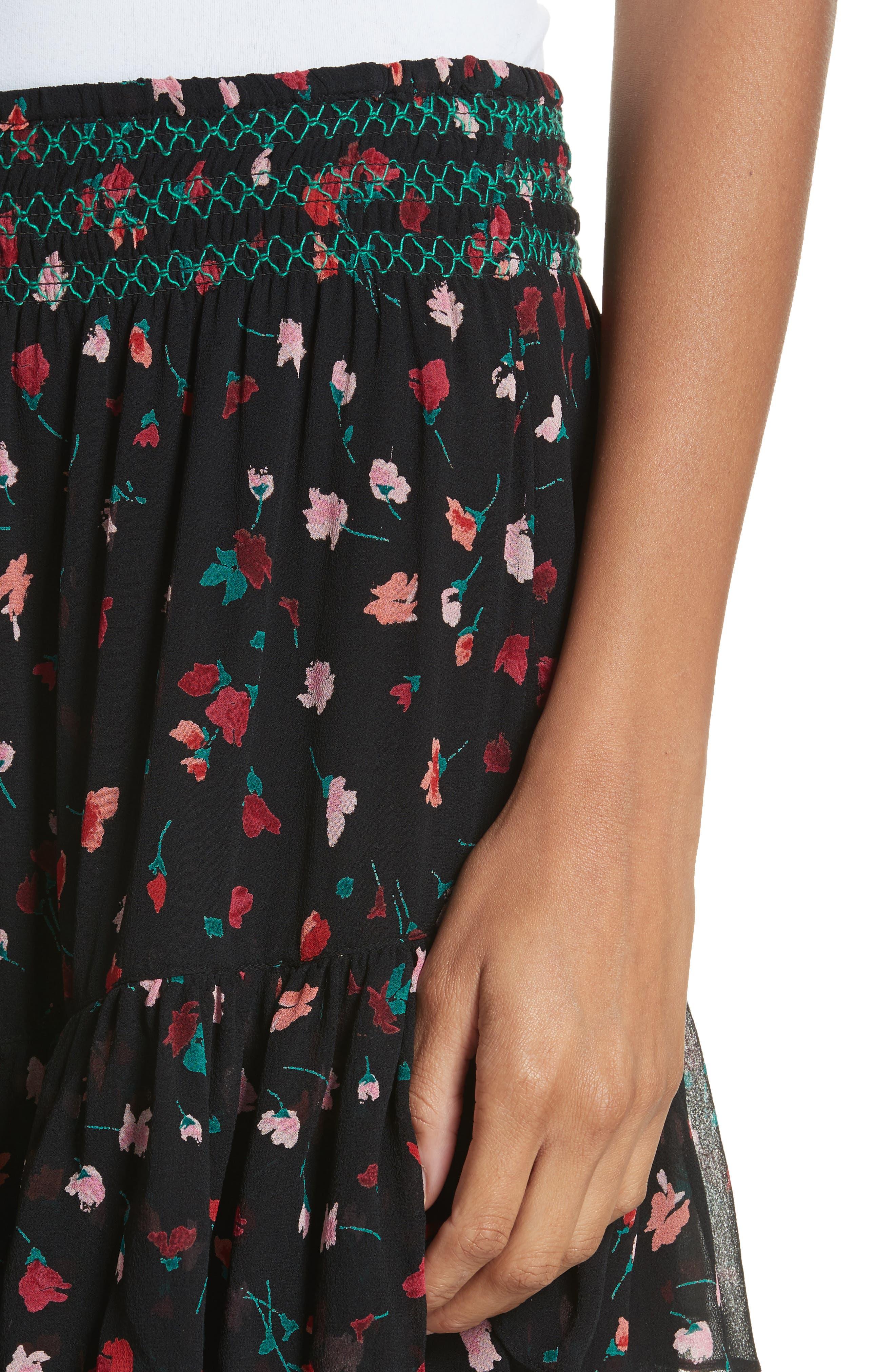 Gorowen Floral Silk Skirt,                             Alternate thumbnail 4, color,                             Caviar