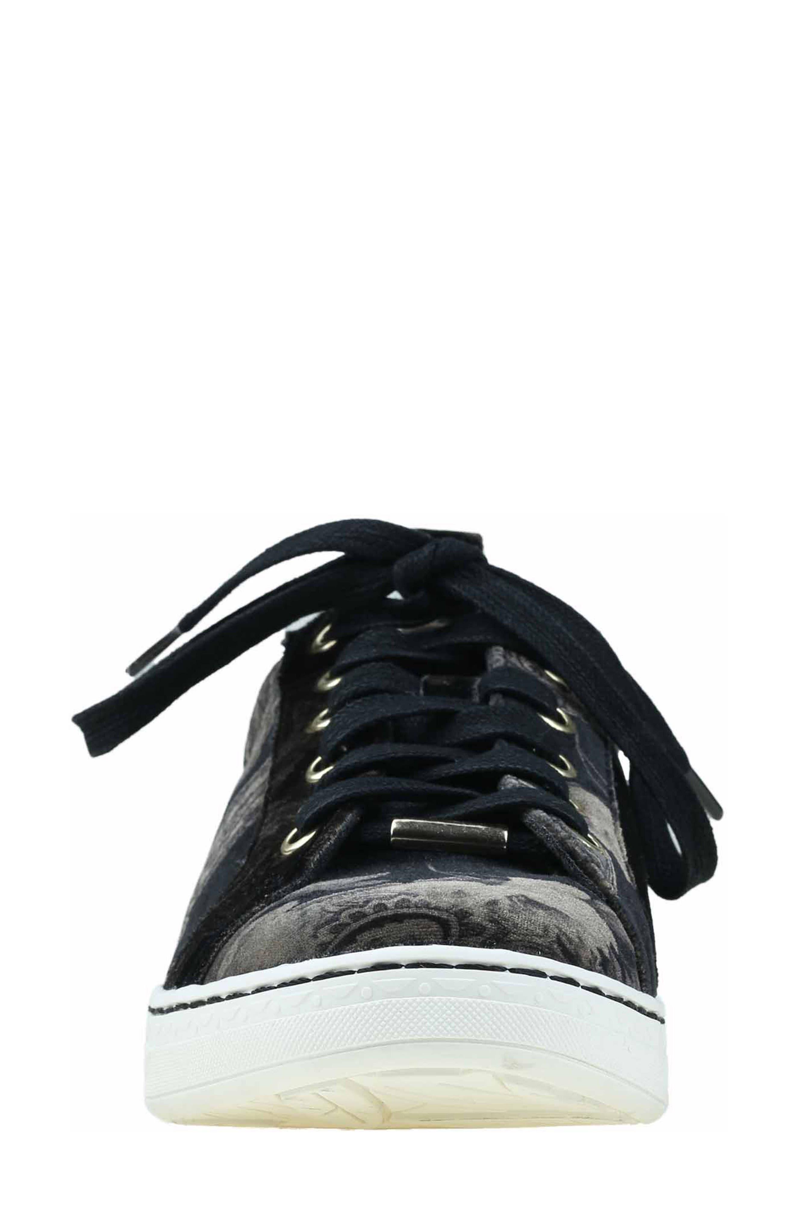 Zag Sneaker,                             Alternate thumbnail 5, color,                             Black Printed Velvet