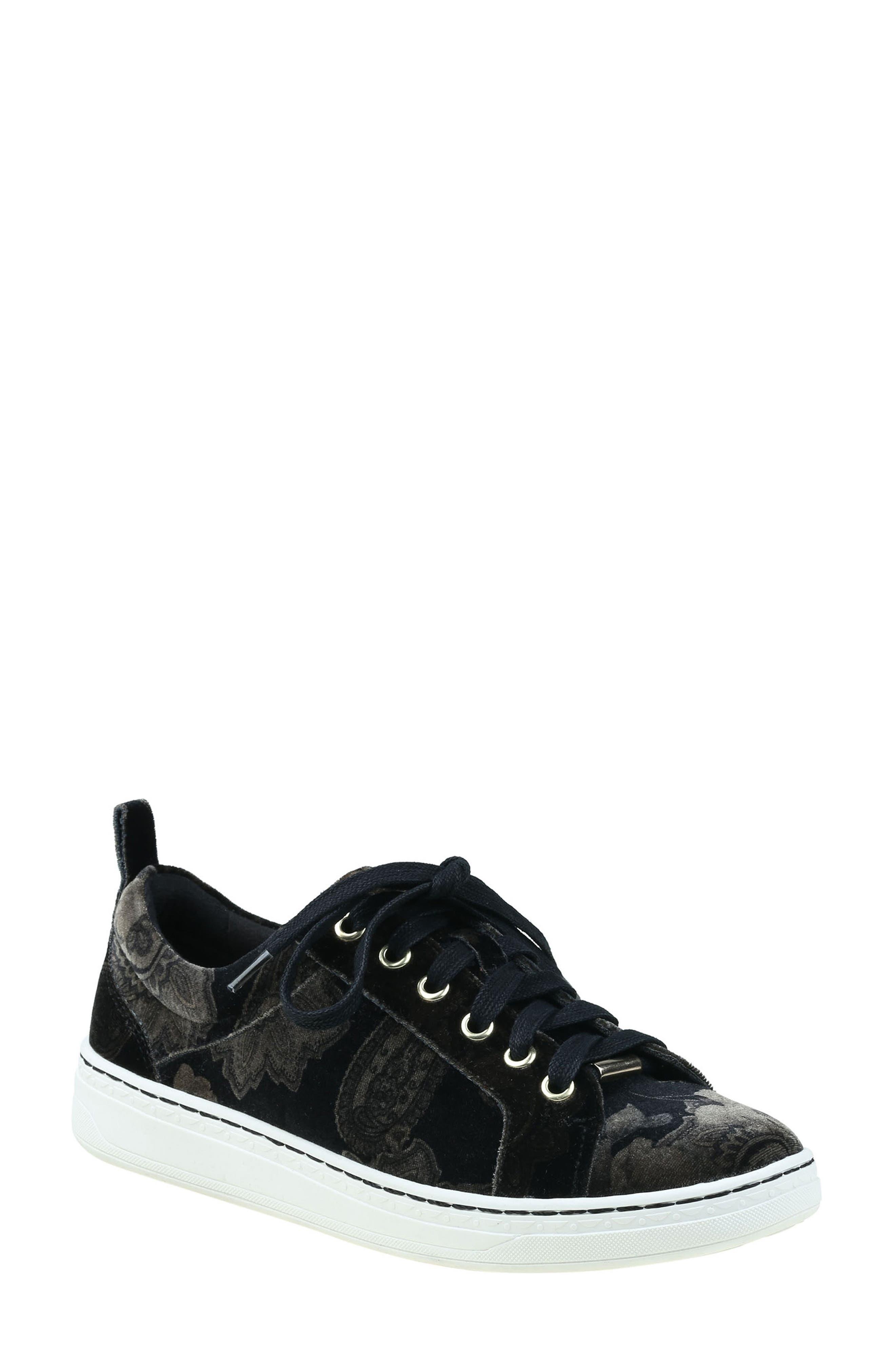 Zag Sneaker,                             Main thumbnail 1, color,                             Black Printed Velvet