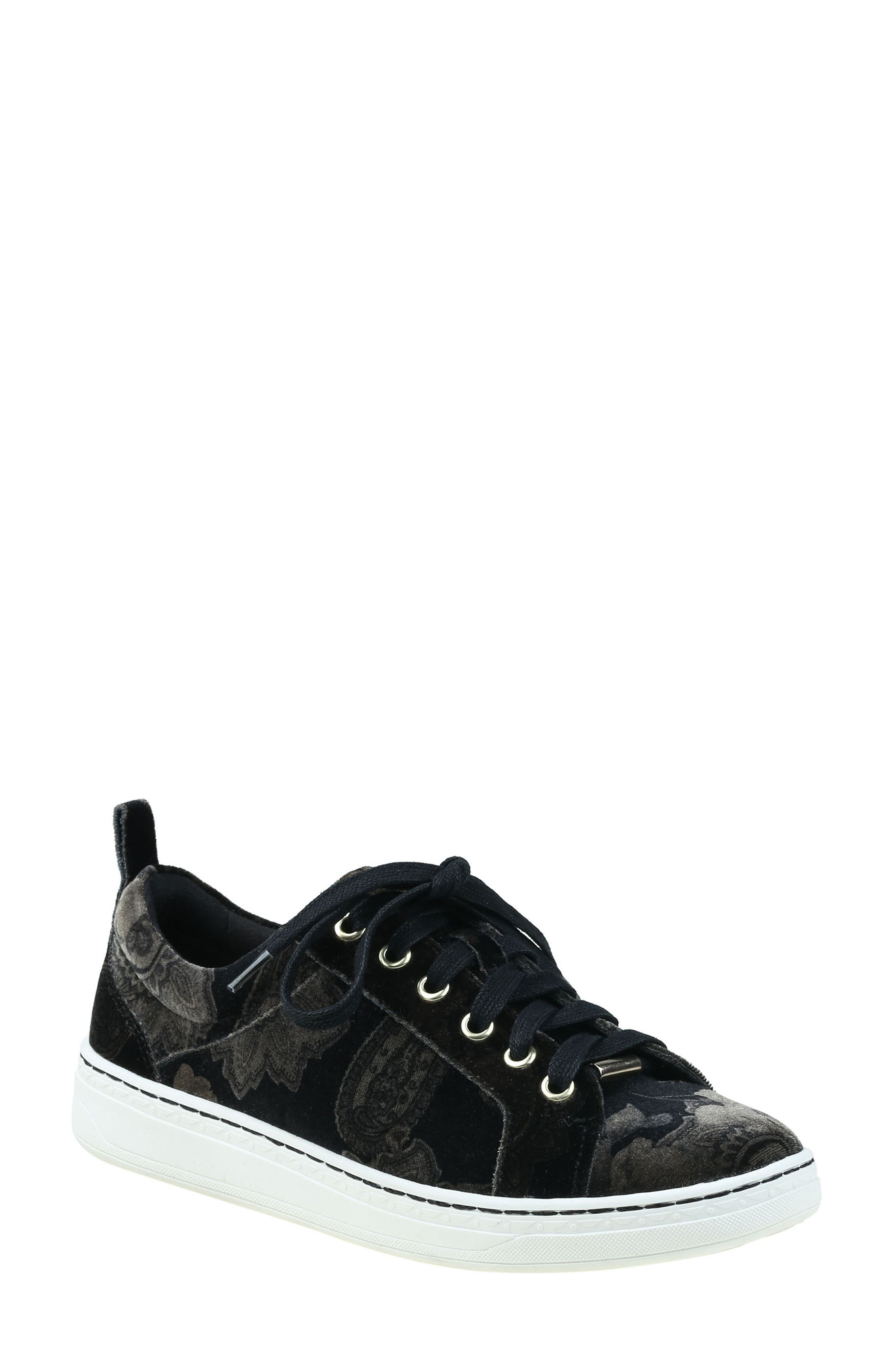 Zag Sneaker,                         Main,                         color, Black Printed Velvet