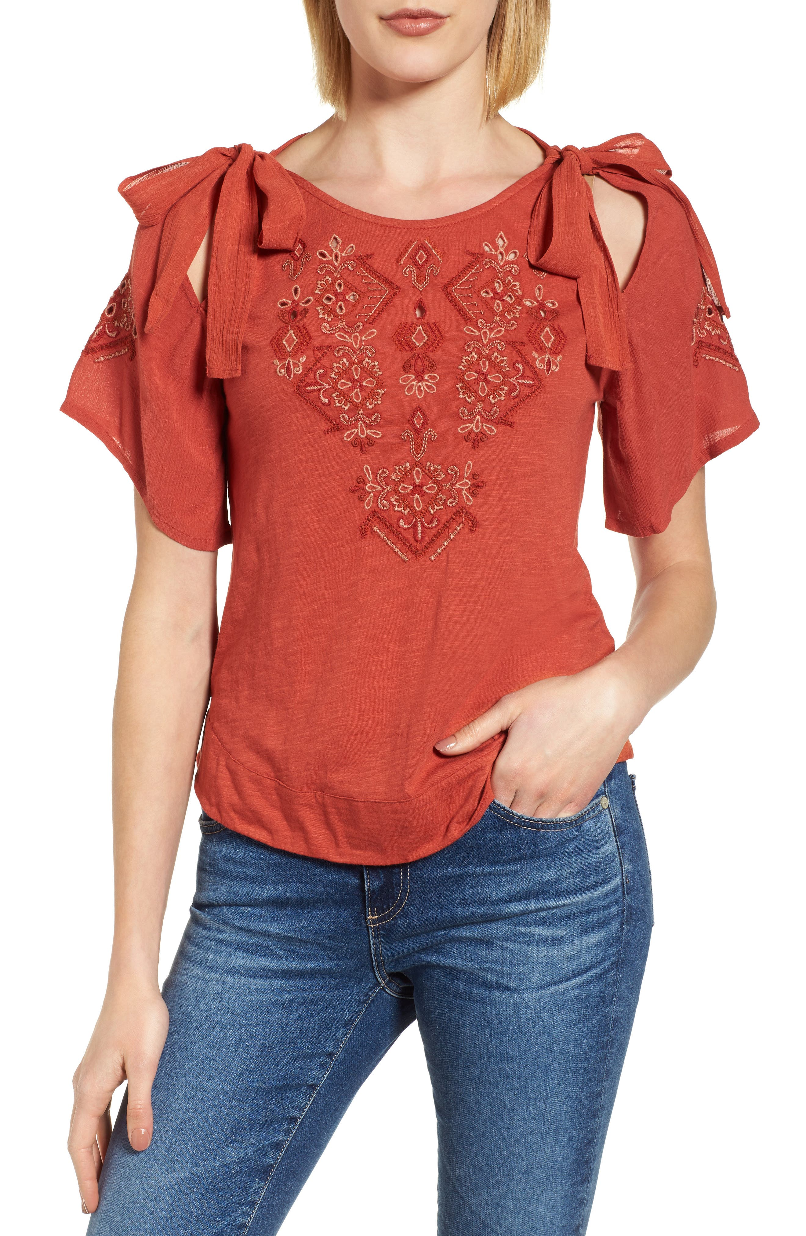 Tie Shoulder Embroidered Top,                             Main thumbnail 1, color,                             Heirloom Red