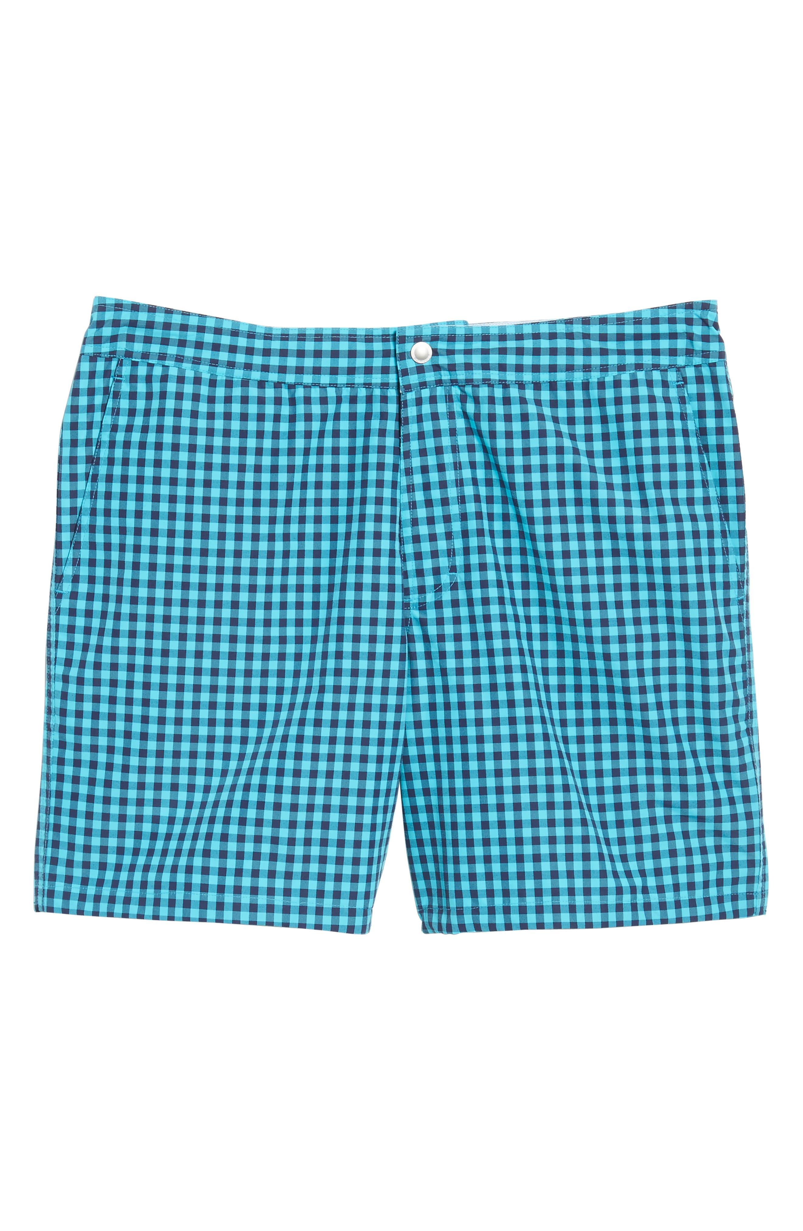 Gingham 7-Inch Swim Trunks,                             Alternate thumbnail 6, color,                             Gulfstream Gingham Scuba Blue
