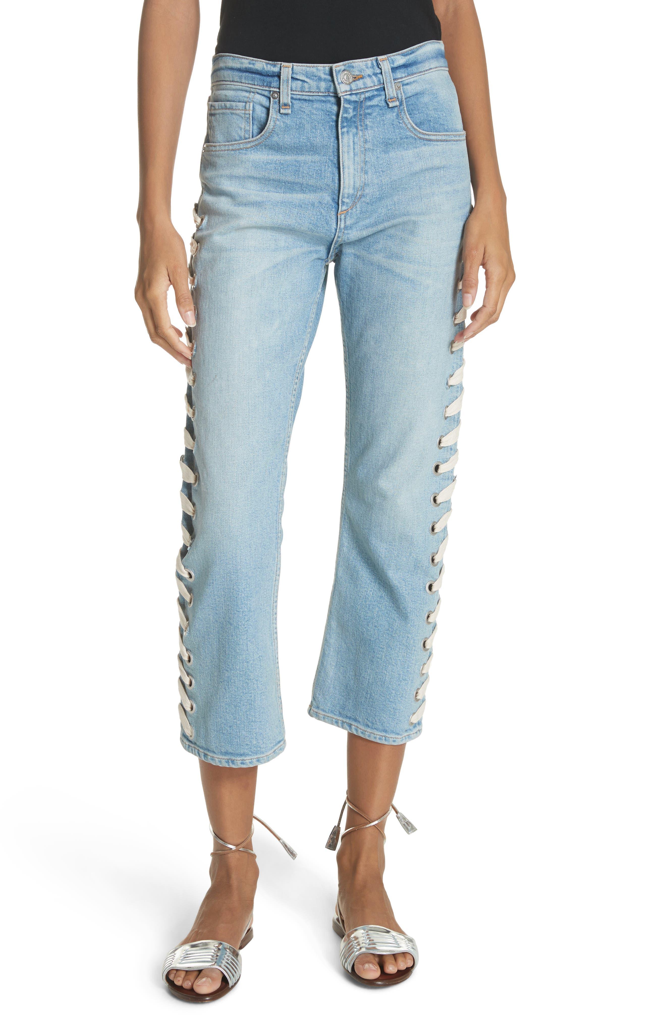 Ines Girlfriend Crop Jeans,                         Main,                         color, Surfside