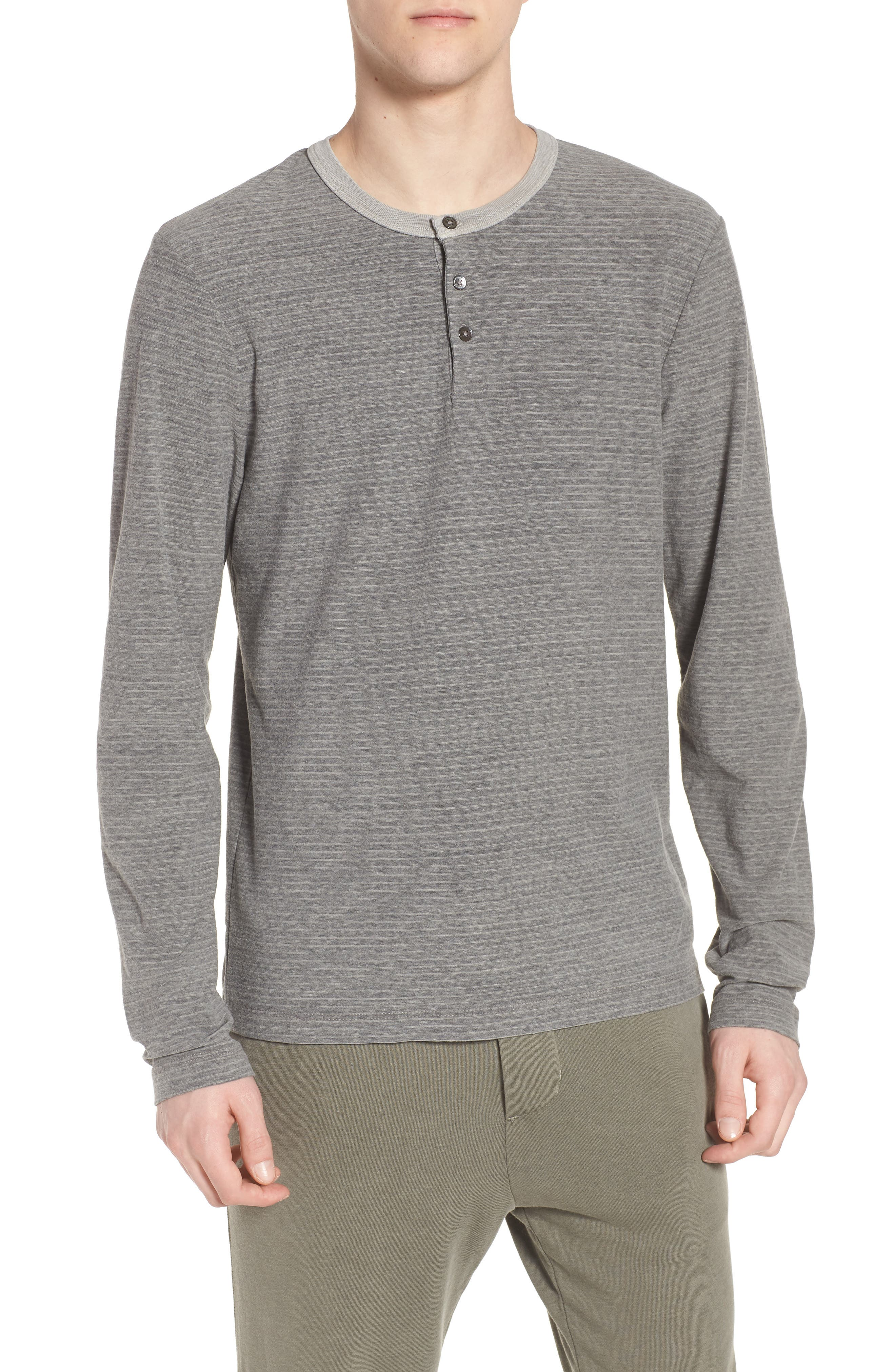 Main Image - James Perse Regular Fit Micro Stripe Henley Shirt