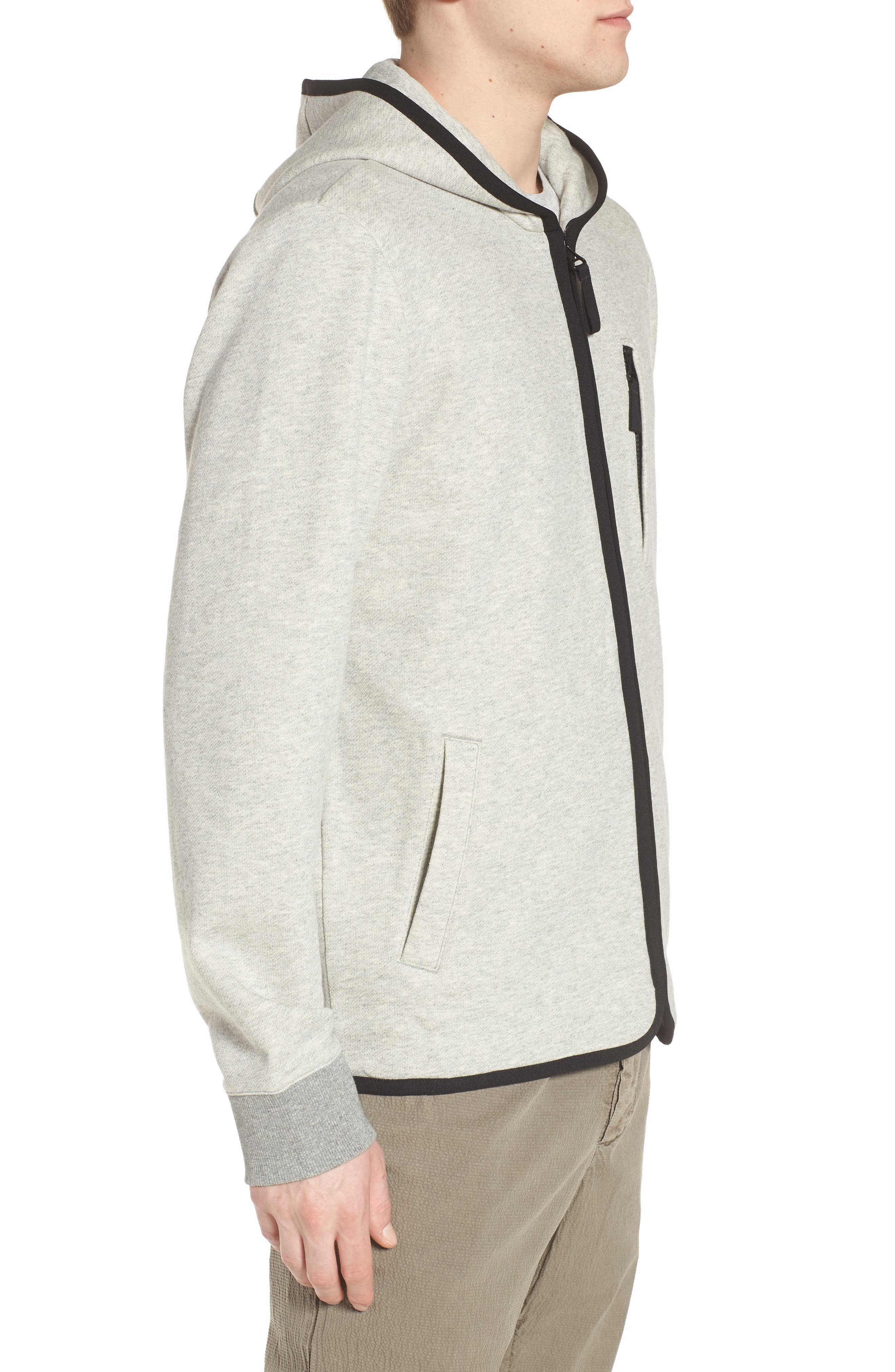 French Terry Zip Hoodie,                             Alternate thumbnail 3, color,                             Heather Grey/ Black