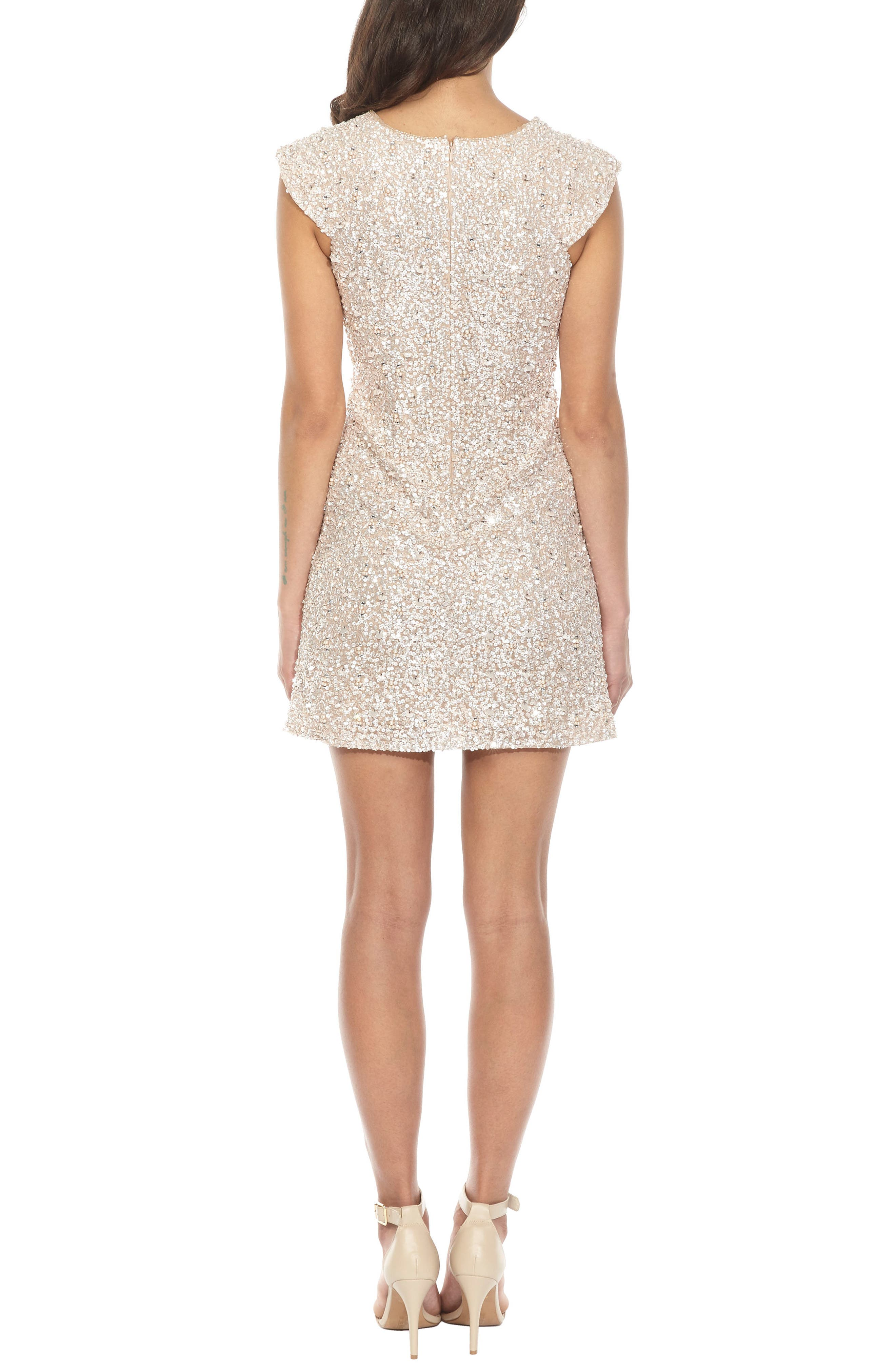 Pica Sequin Minidress,                             Alternate thumbnail 2, color,                             Nude