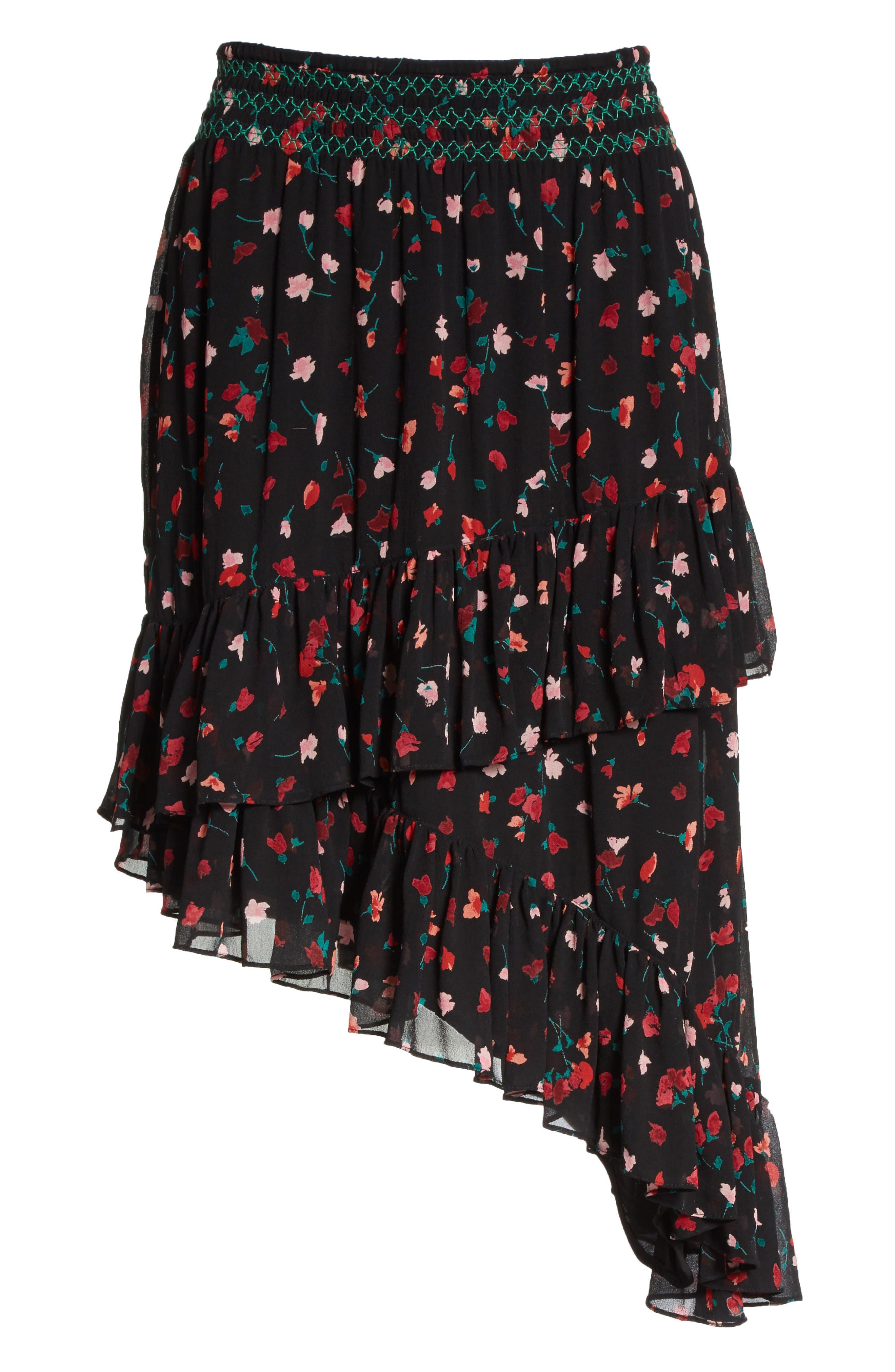 Gorowen Floral Silk Skirt,                             Alternate thumbnail 6, color,                             Caviar