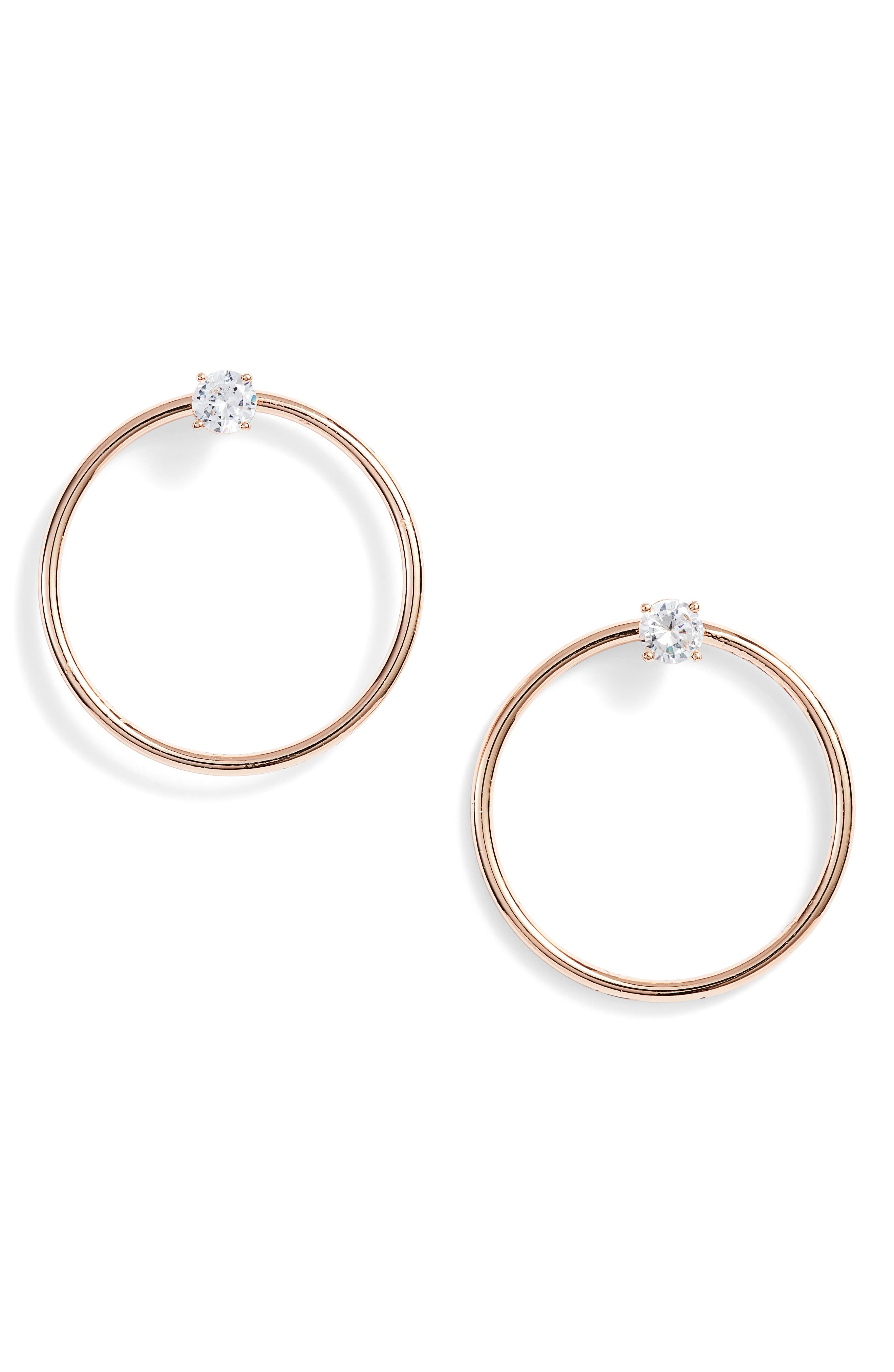 Crystal Stud Hoop Earrings,                             Main thumbnail 1, color,                             Rose Gold