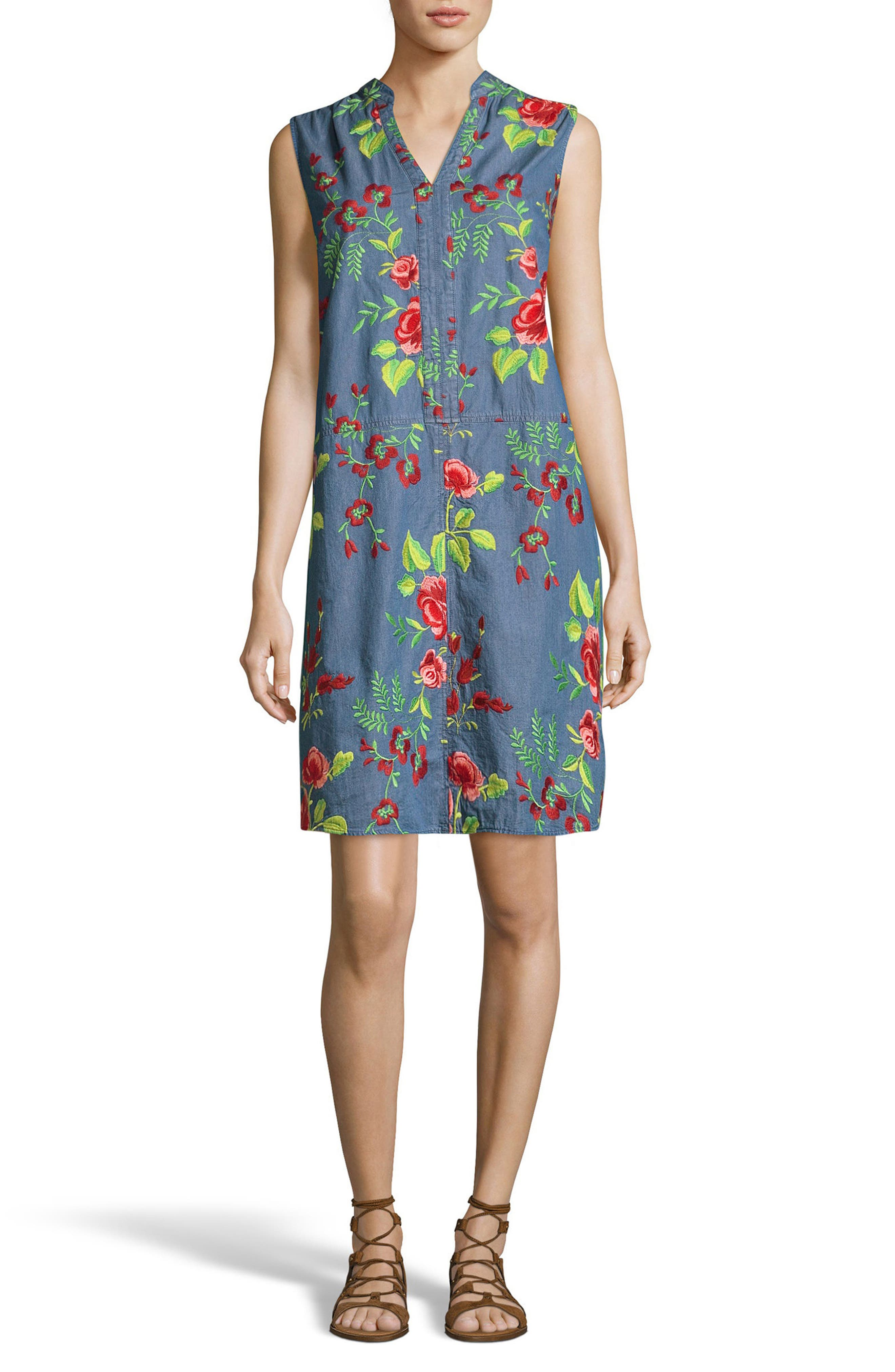 Embroidered Denim Shift Dress,                             Main thumbnail 1, color,                             Pink / Green
