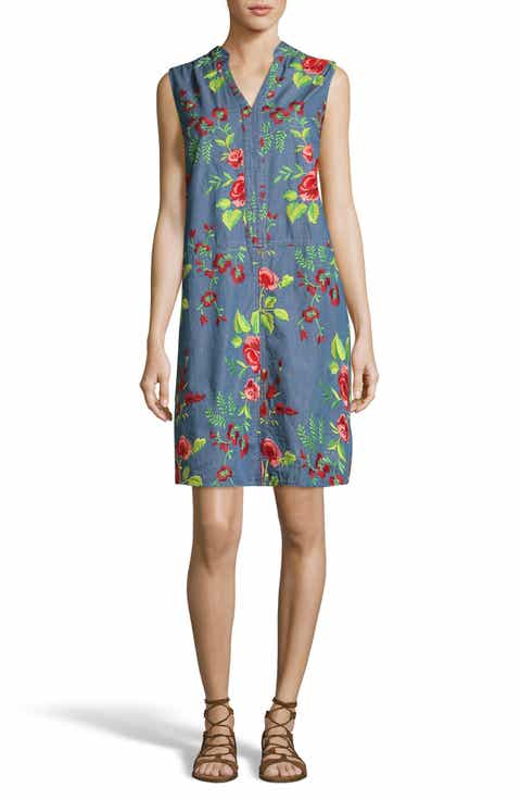 ECI Embroidered Denim Shift Dress