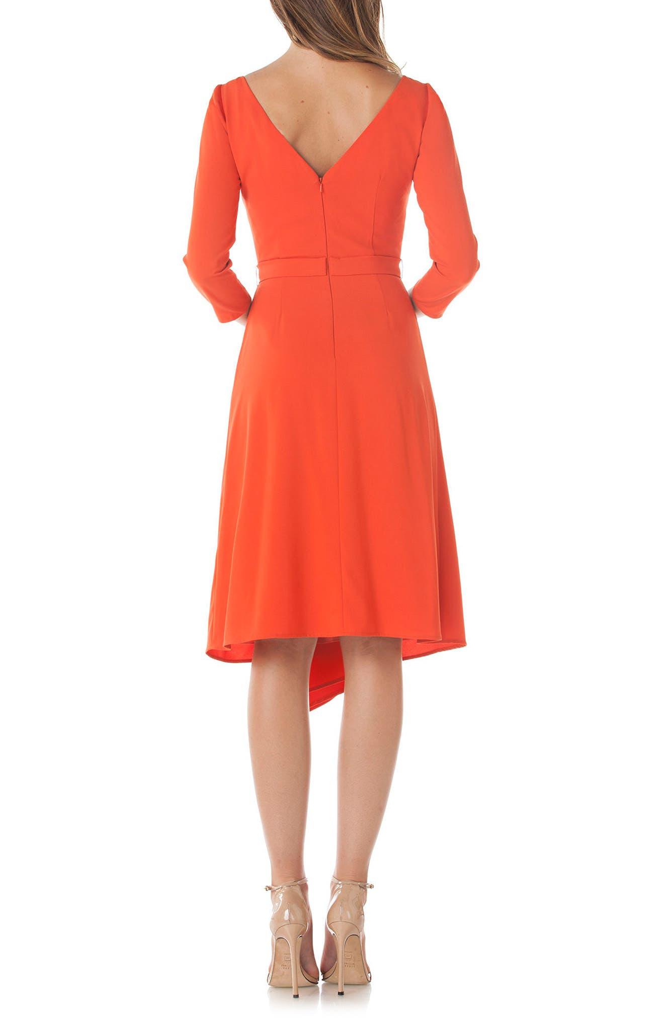 Asymmetrical Pleat V-Back Dress,                             Alternate thumbnail 2, color,                             Coral