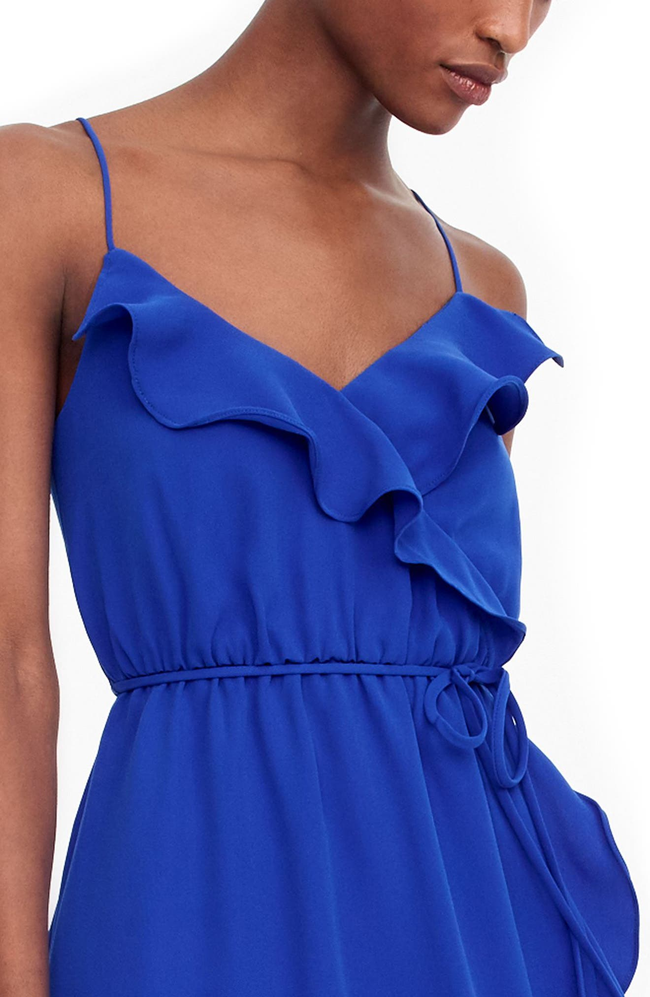 Faux Wrap Ruffle Dress,                             Alternate thumbnail 3, color,                             Bright Ocean
