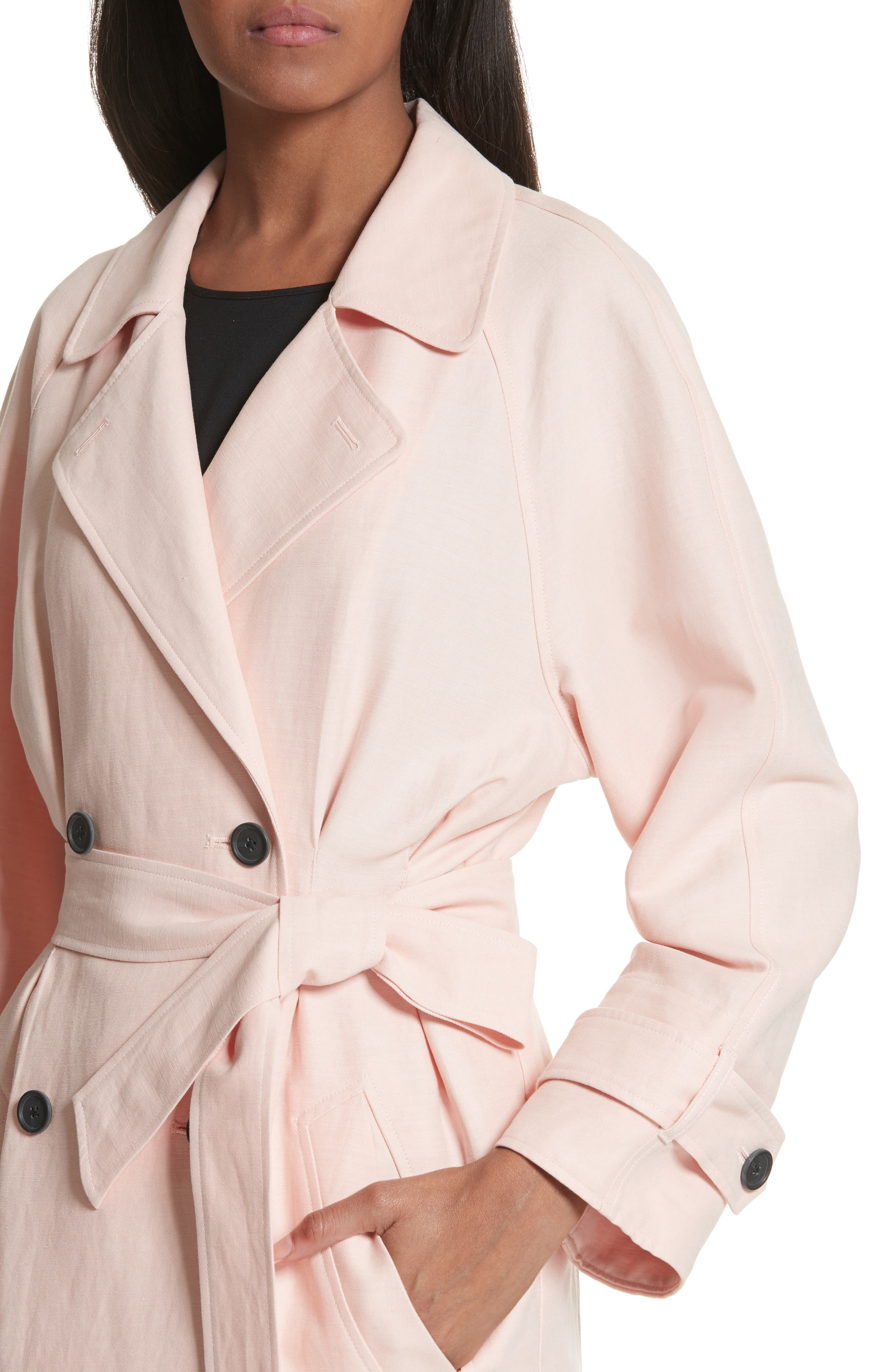 Damonica Trench Coat,                             Alternate thumbnail 4, color,                             Washed Rose