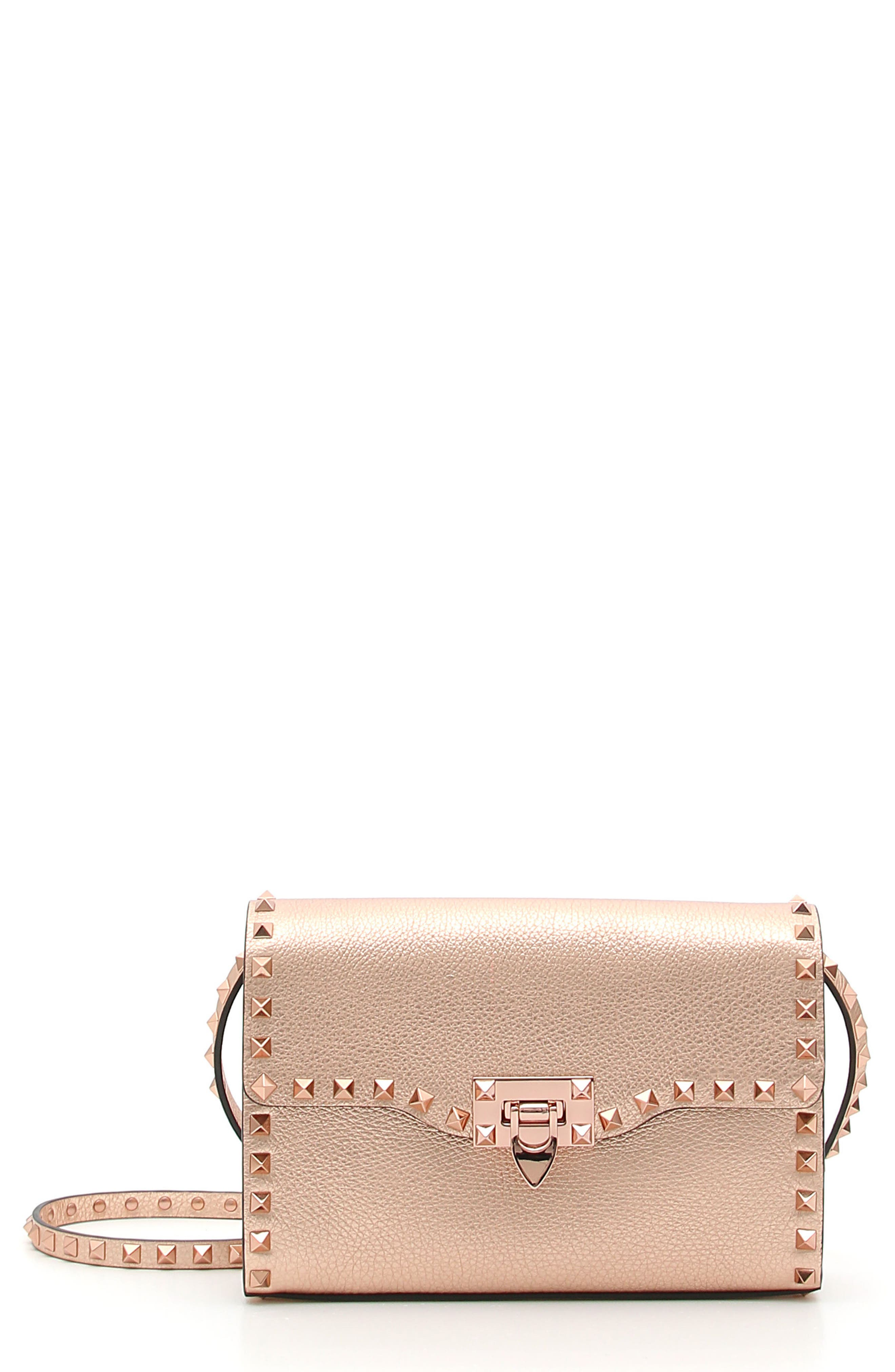 Rockstud Medium Metallic Leather Shoulder Bag,                             Main thumbnail 1, color,                             Rosegold