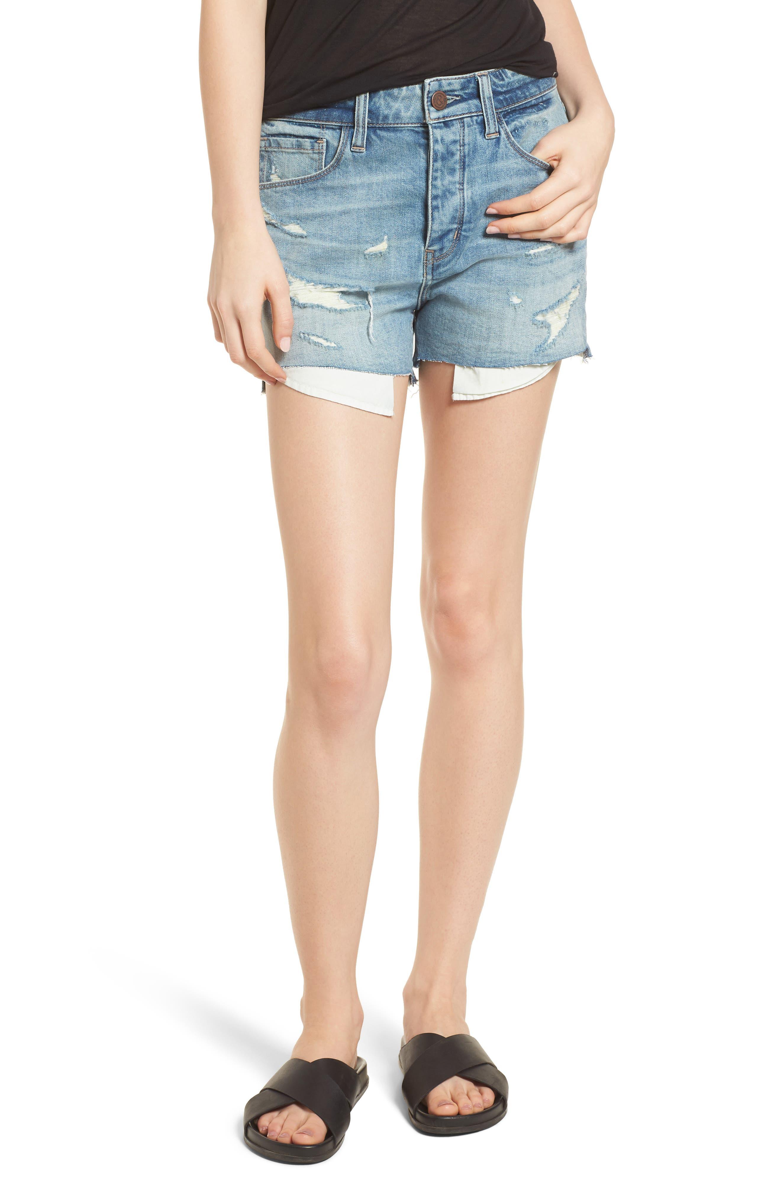 High Waist Boyfriend Cutoff Denim Shorts,                         Main,                         color, Gravel Medium Vintage