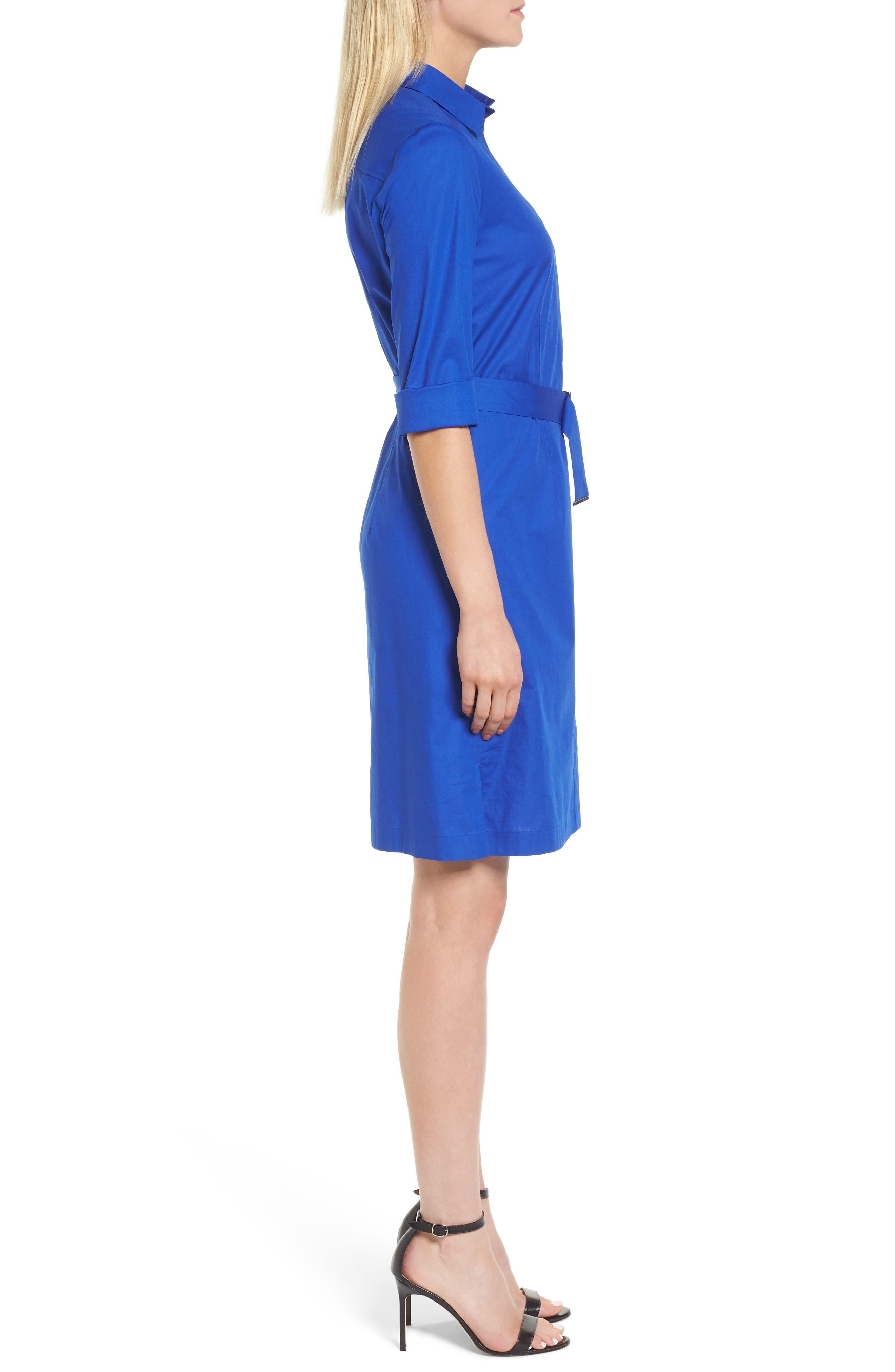 Dashir Stretch Cotton Shirtdress,                             Alternate thumbnail 3, color,                             Sailor Blue