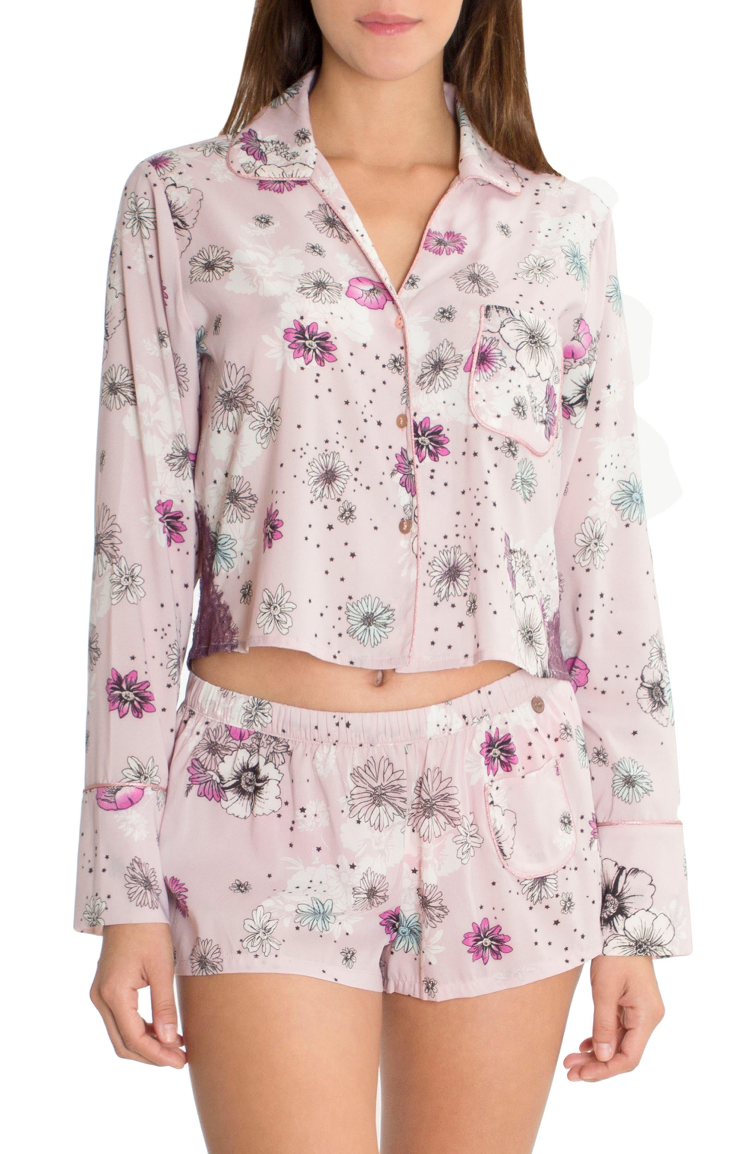 Crop Pajama Top,                             Main thumbnail 1, color,                             Lilac