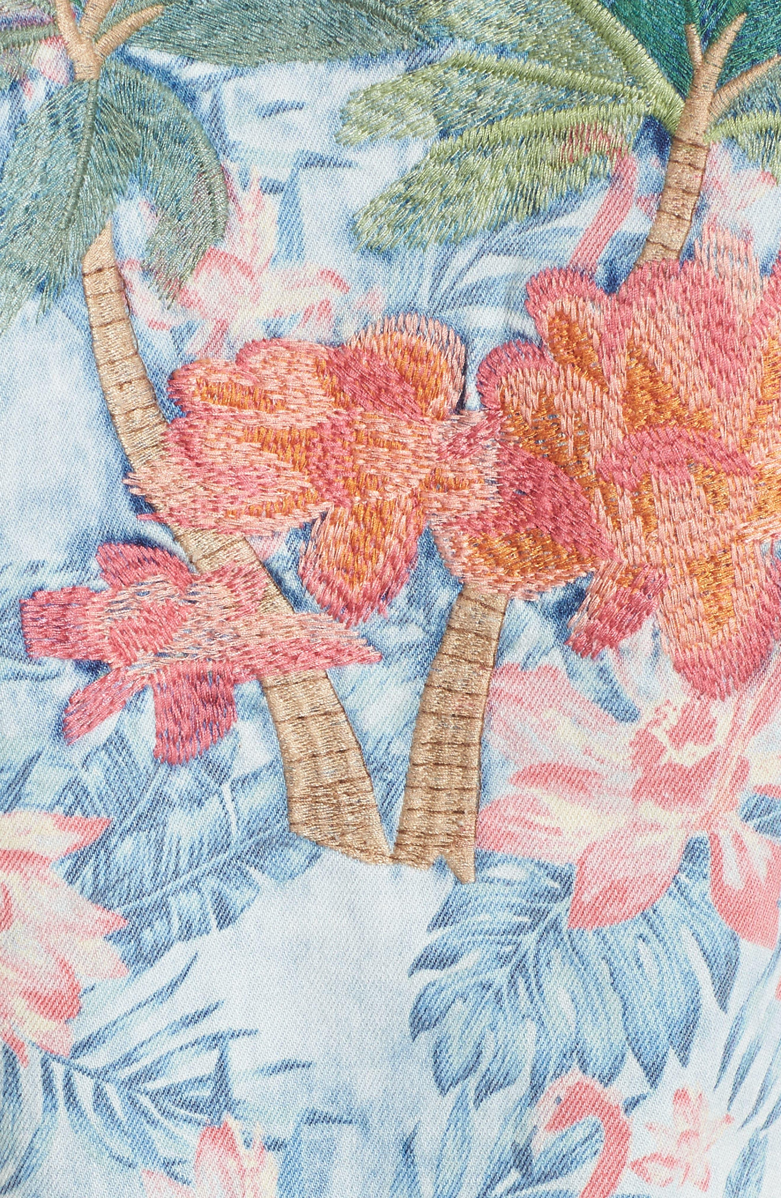Embroidered Floral Denim Jacket,                             Alternate thumbnail 6, color,                             Light Blue Paradise