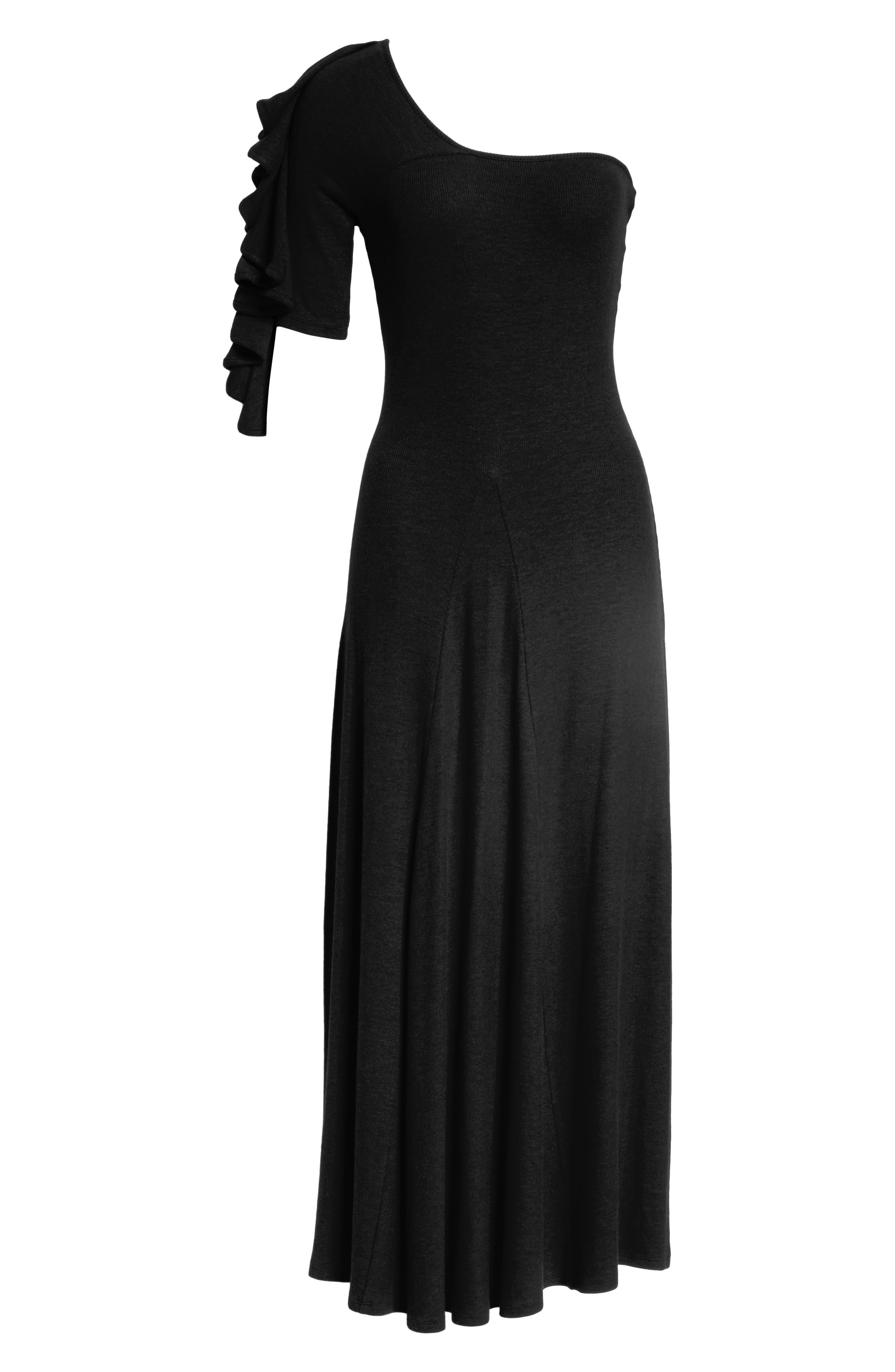 Dione One-Shoulder Dress,                             Alternate thumbnail 6, color,                             Black