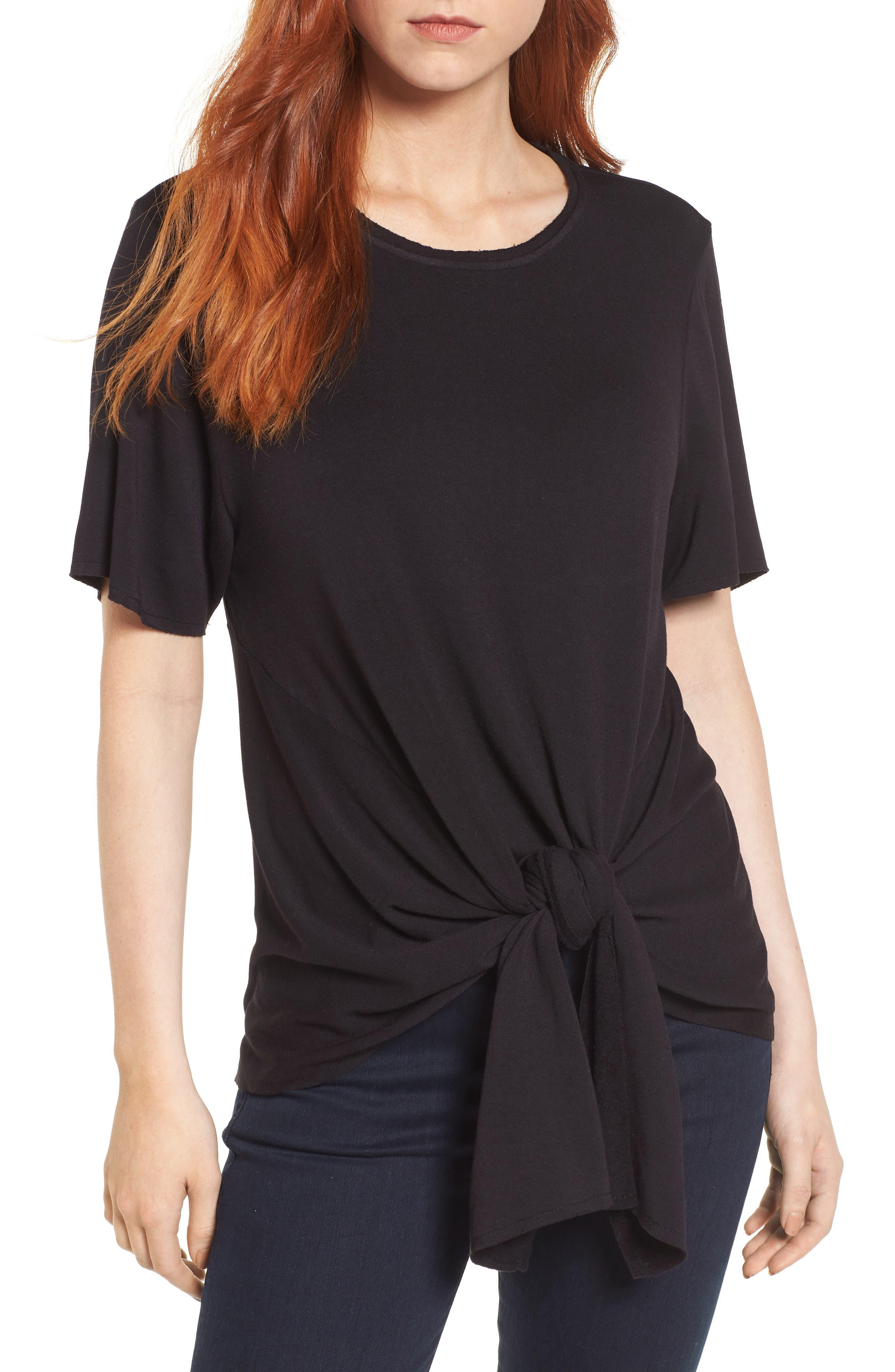 Caslon® Tie Front Sweatshirt
