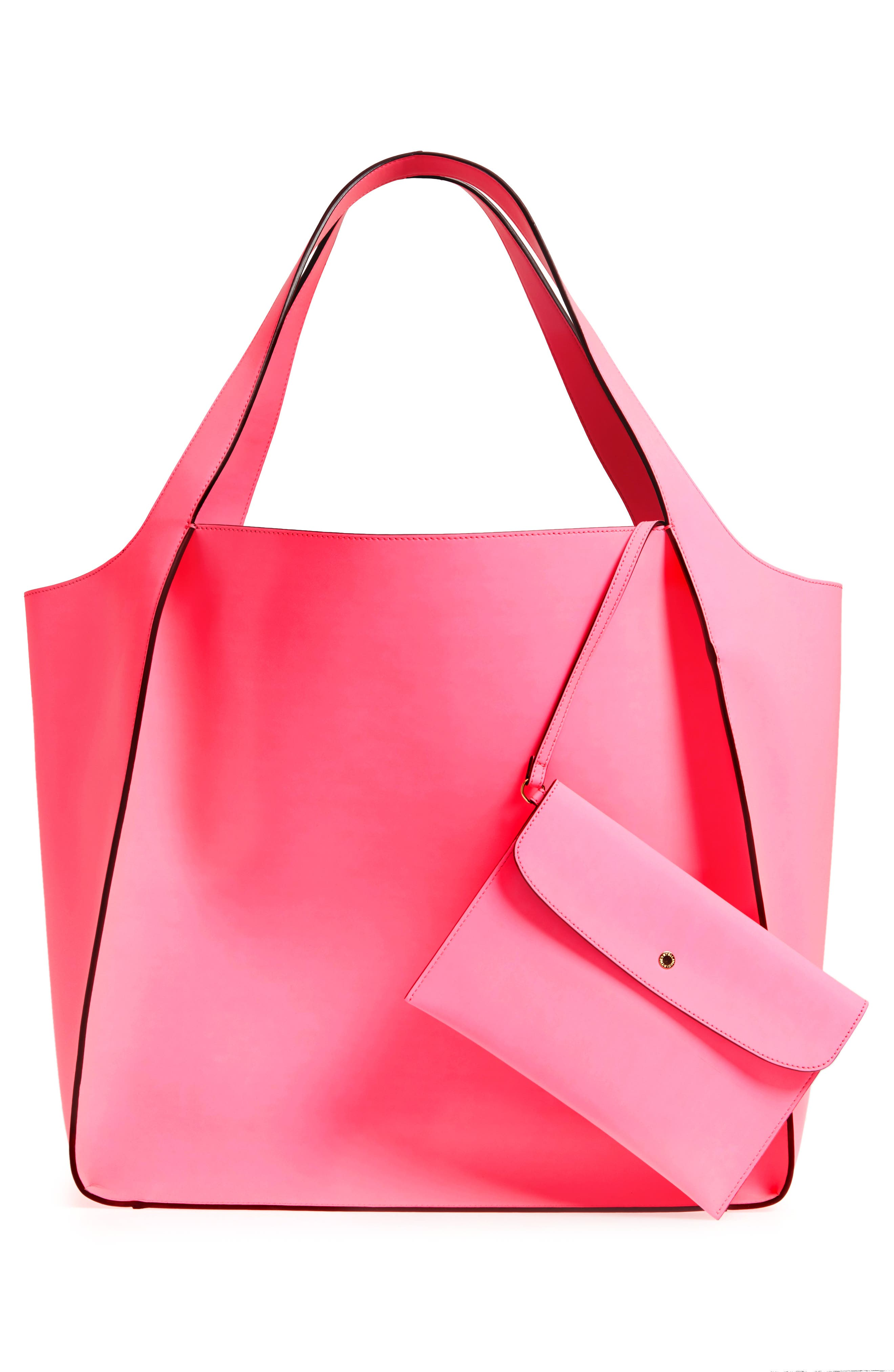 Extra Large Perforated Logo Faux Leather Tote,                             Alternate thumbnail 3, color,                             Pink Fluo