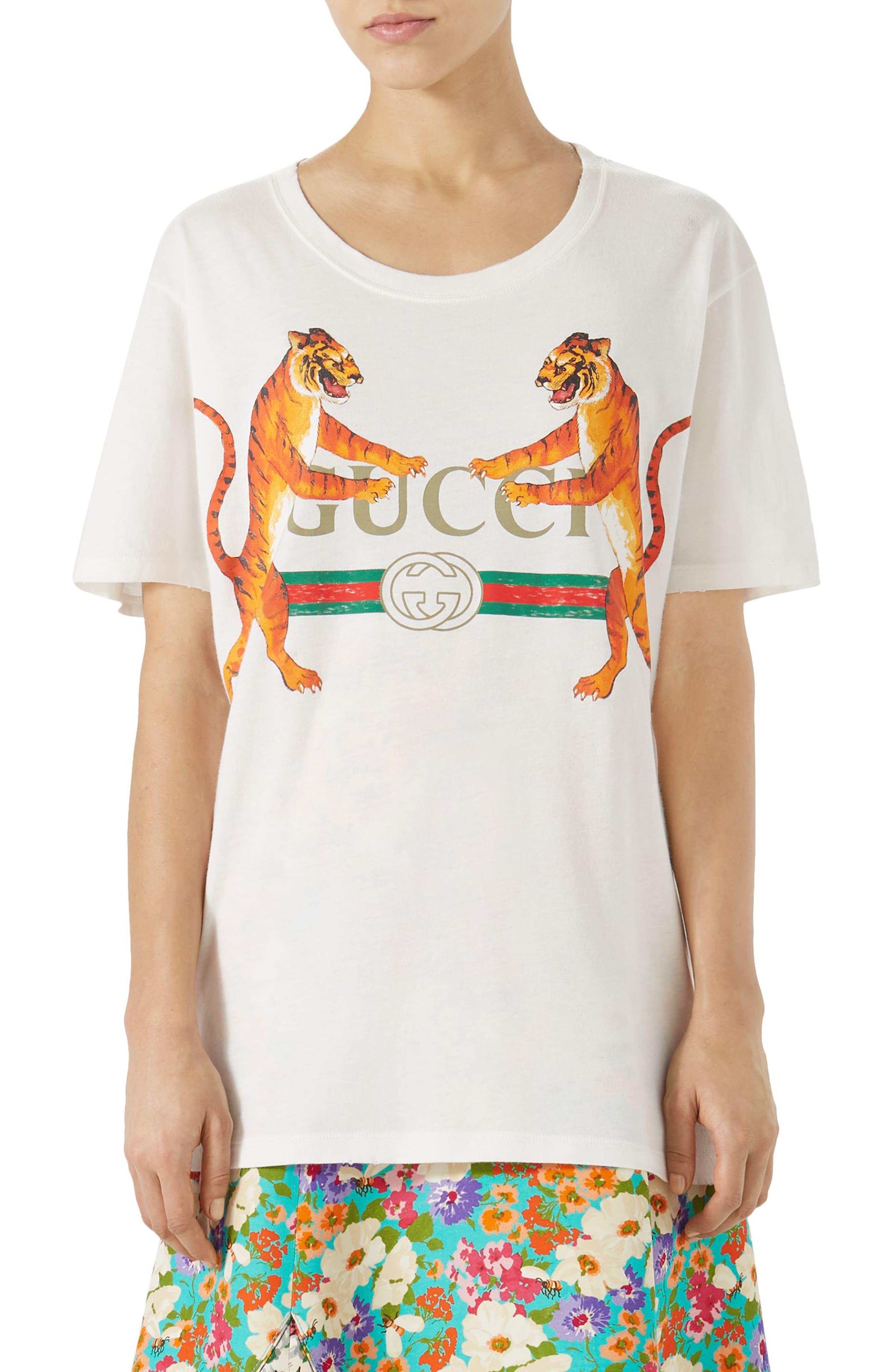 Gucci Tiger Logo Cotton Tee