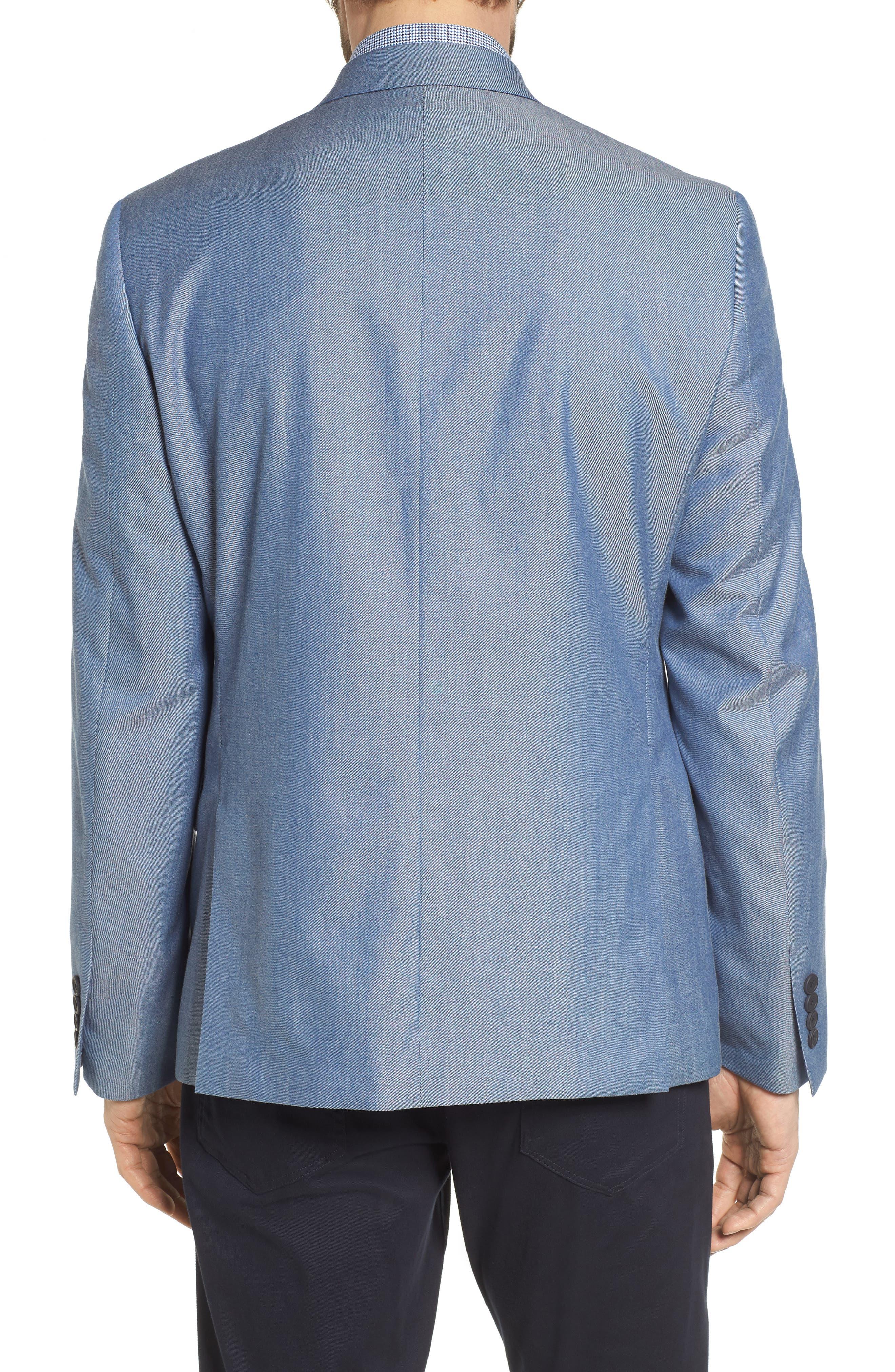 Trim Fit Wool & Cotton Blazer,                             Alternate thumbnail 2, color,                             Blue Denim