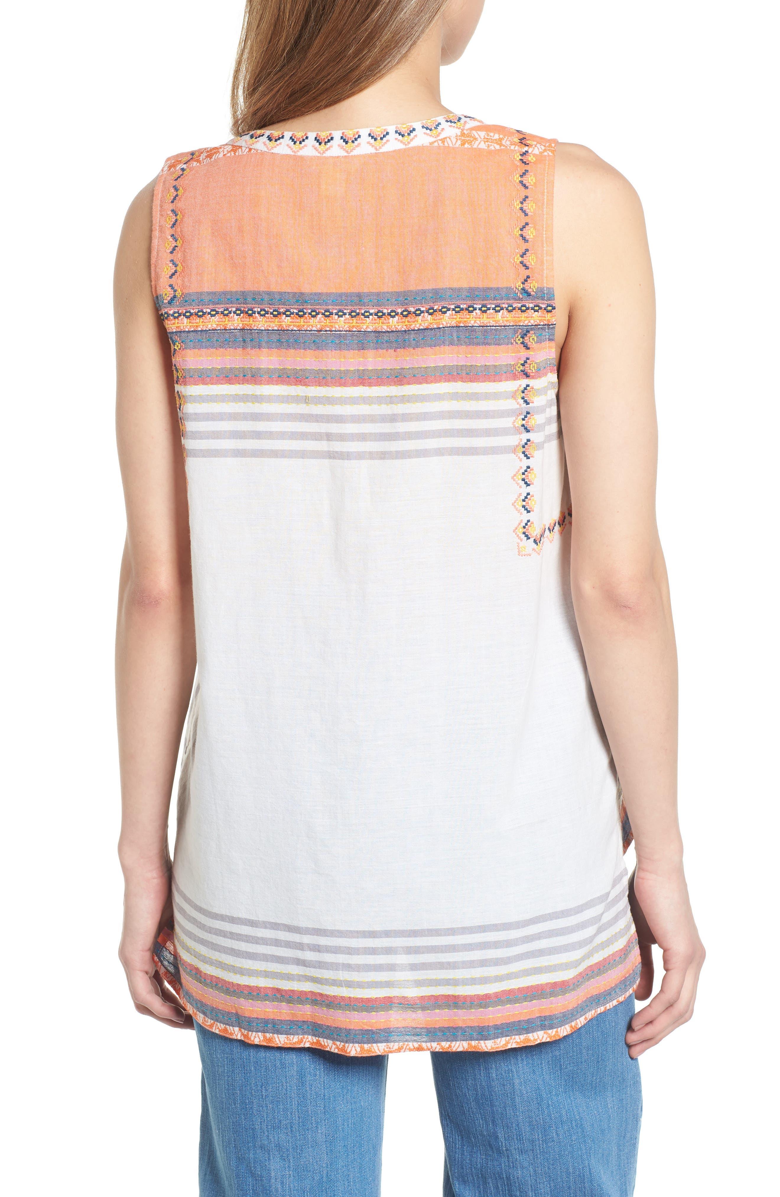 Embroidered Cotton Sleeveless Blouse,                             Alternate thumbnail 2, color,                             White- Grey