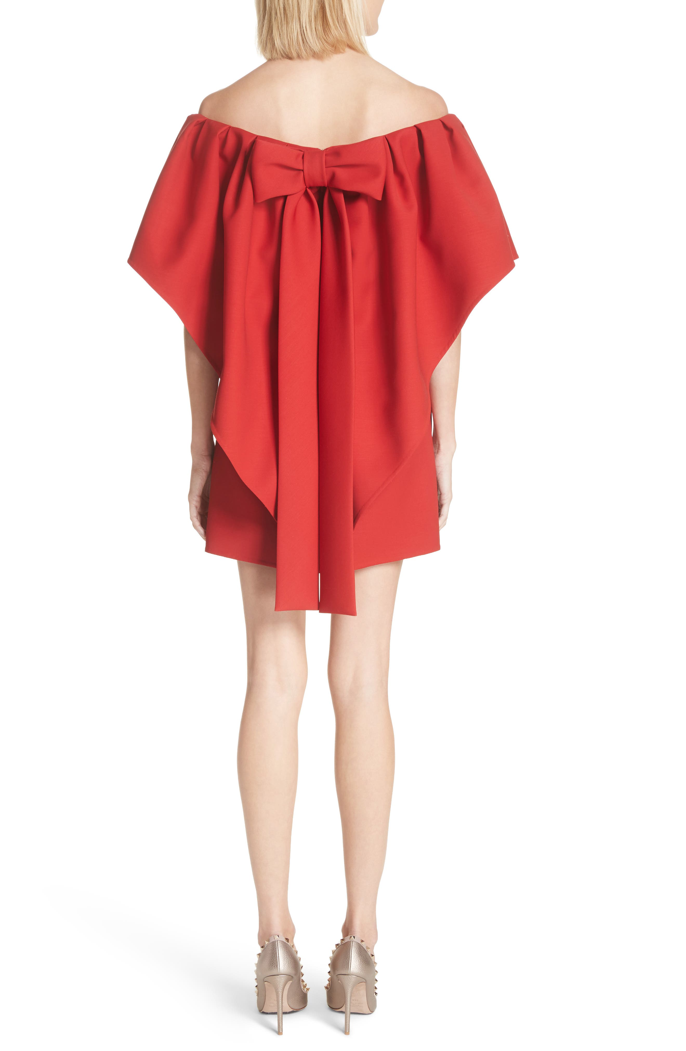 Very Valentino Off the Shoulder Dress,                             Alternate thumbnail 2, color,                             Red