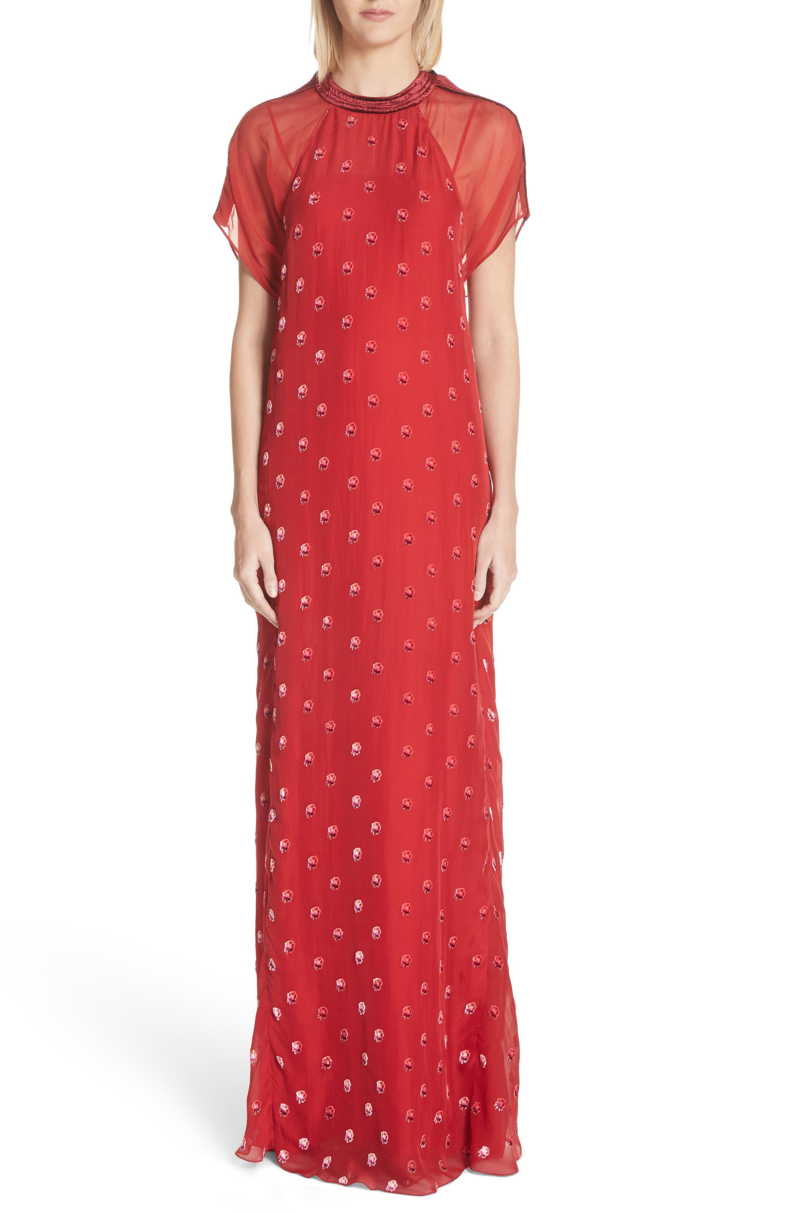 Devoré Rosebud Silk Gown,                             Main thumbnail 1, color,                             Red