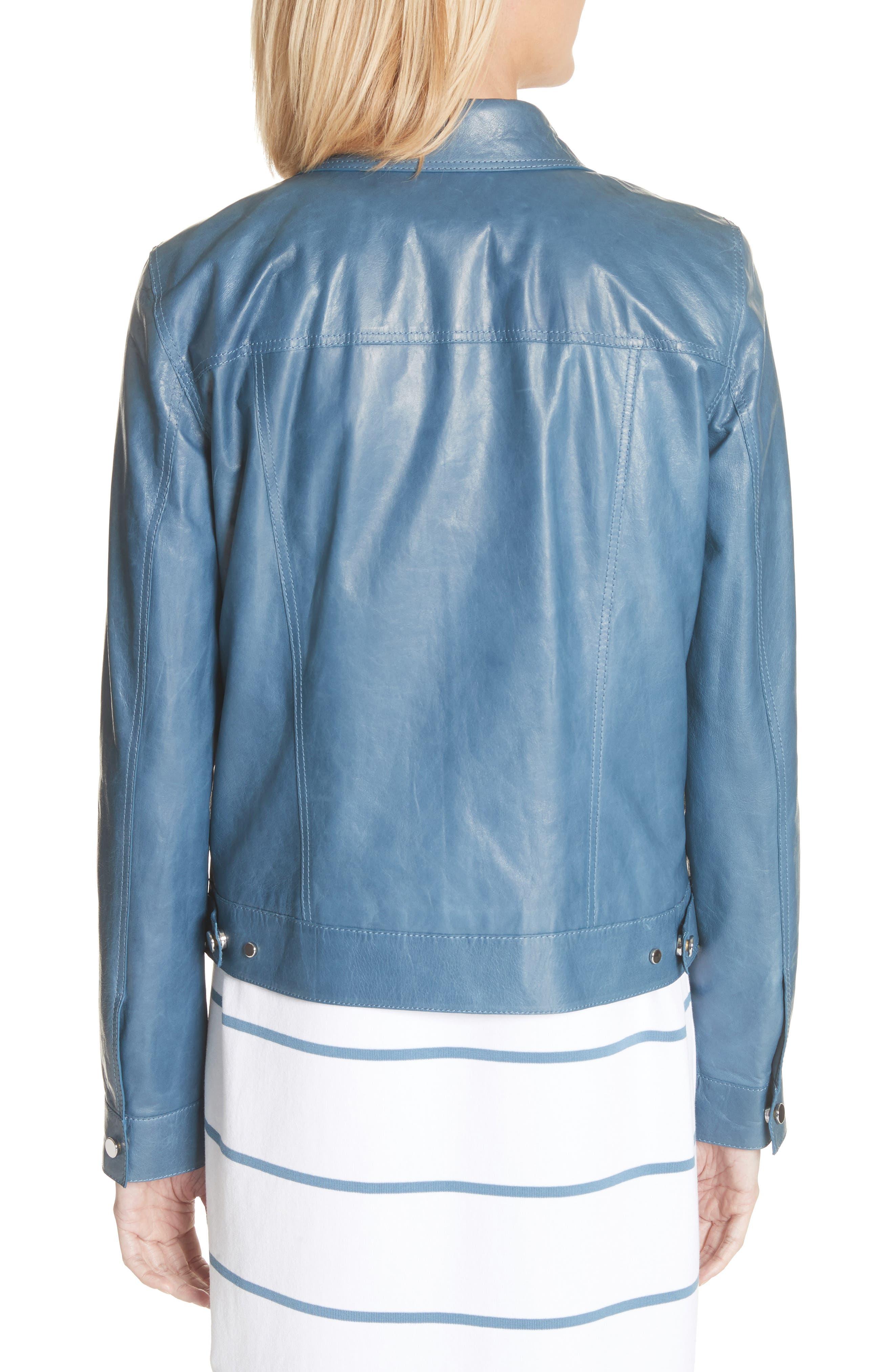 Destiny Leather Jacket,                             Alternate thumbnail 2, color,                             Placid Blue