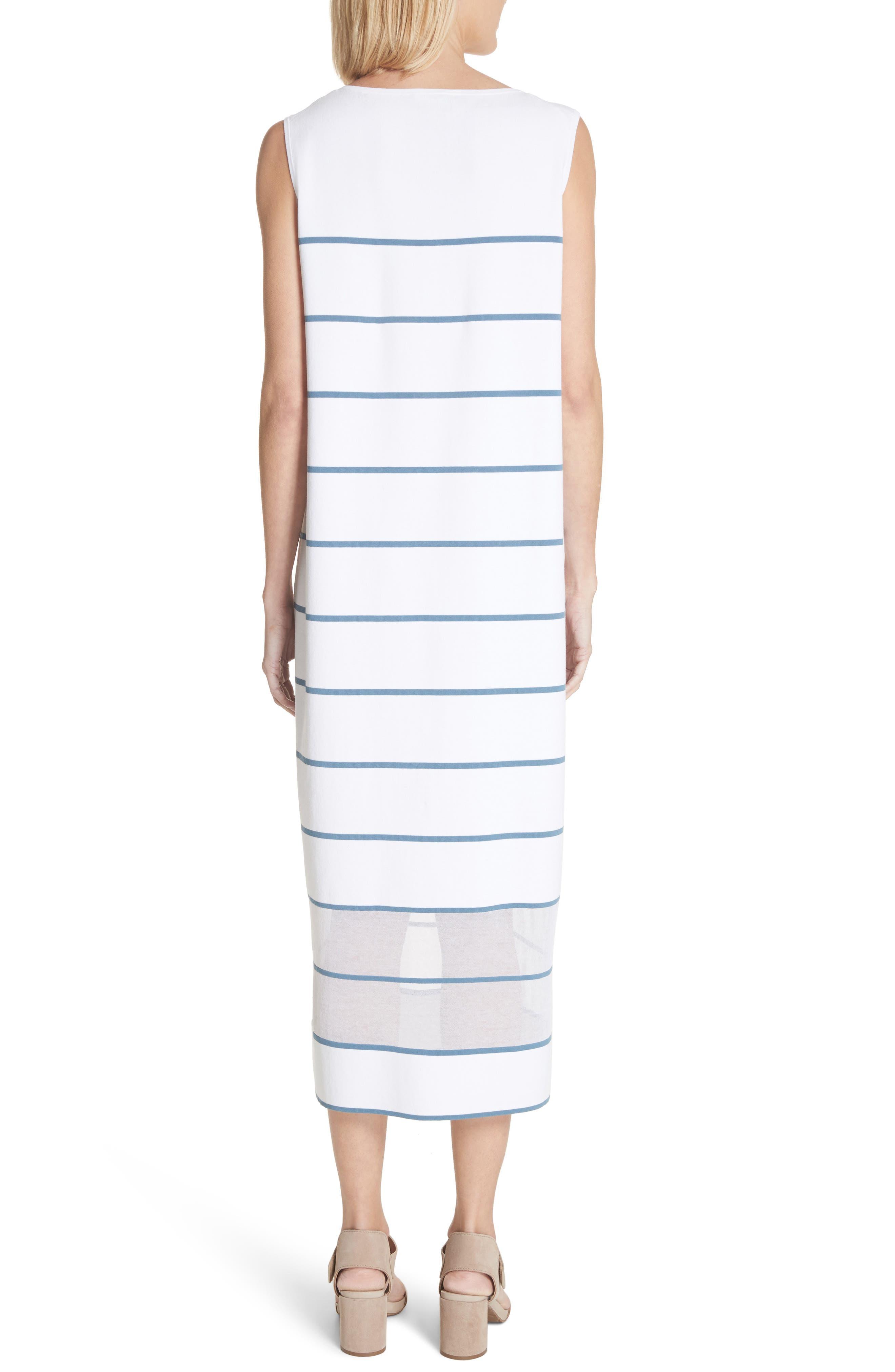 Stripe Sheer Hem Tank Dress,                             Alternate thumbnail 2, color,                             Placid Blue Multi