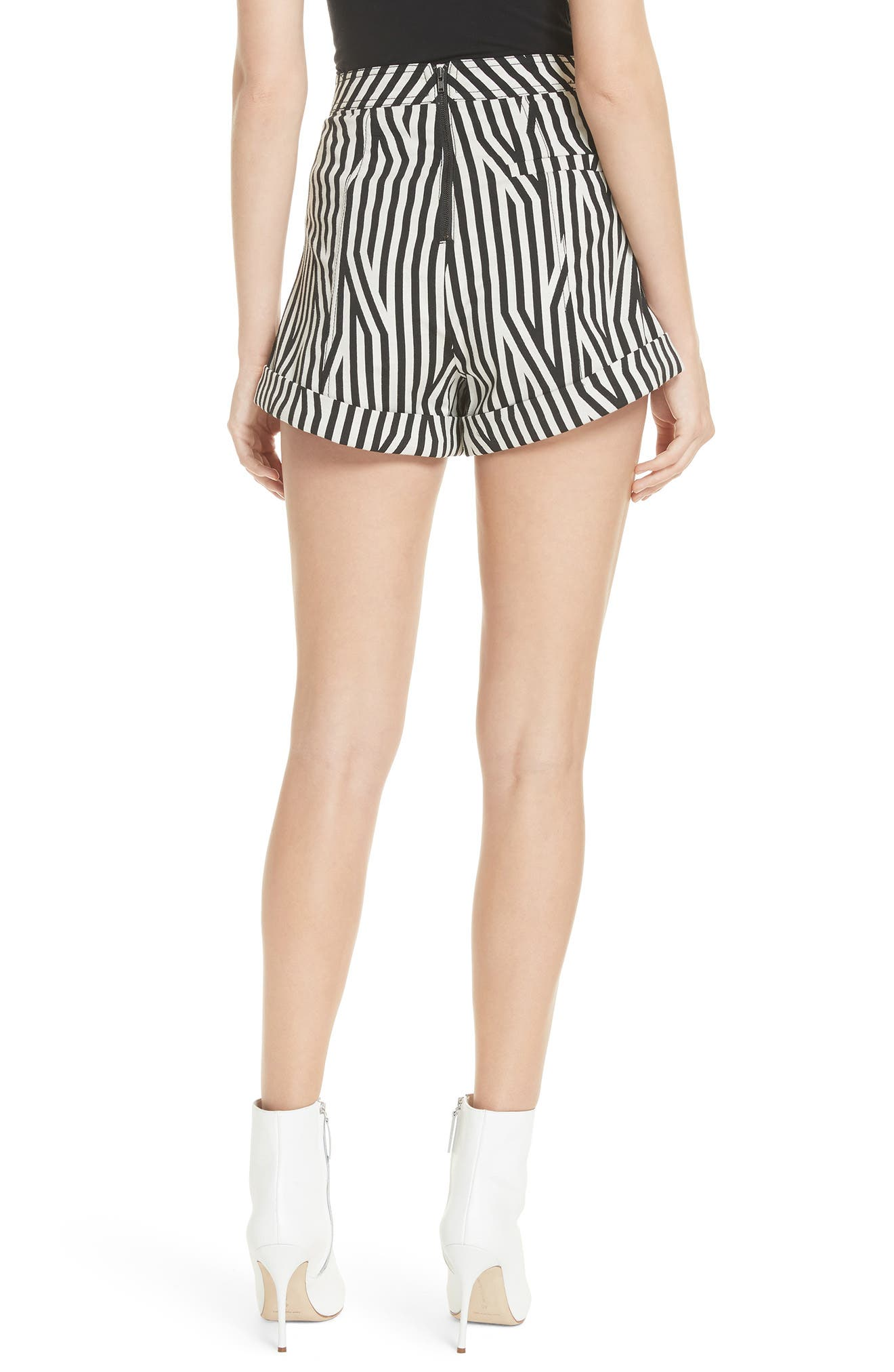Abstract Stripe Lace-Up Shorts,                             Alternate thumbnail 2, color,                             Black/ White