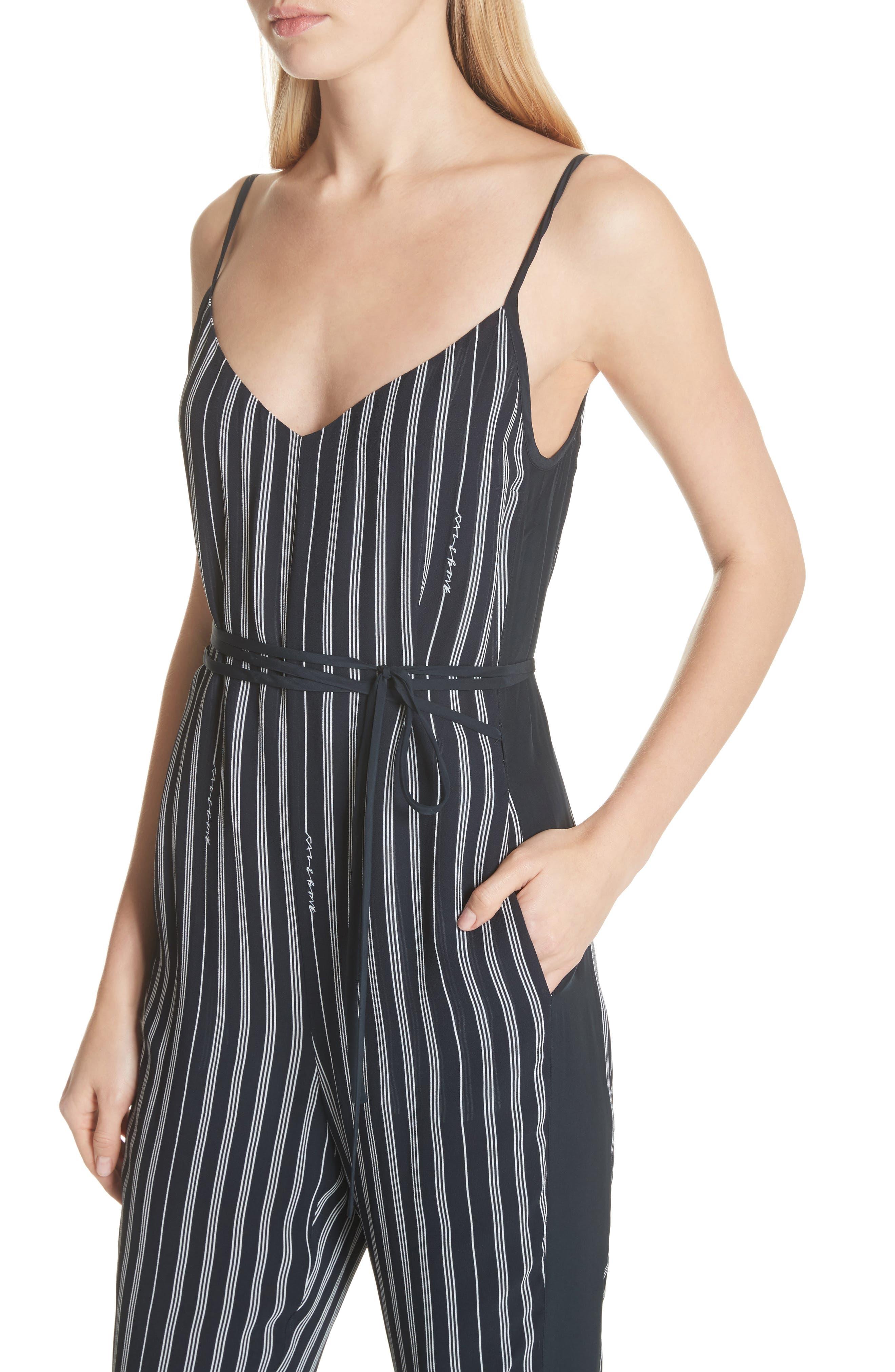 Rosa Silk Panel Belted Jumpsuit,                             Alternate thumbnail 4, color,                             Navy Stripe