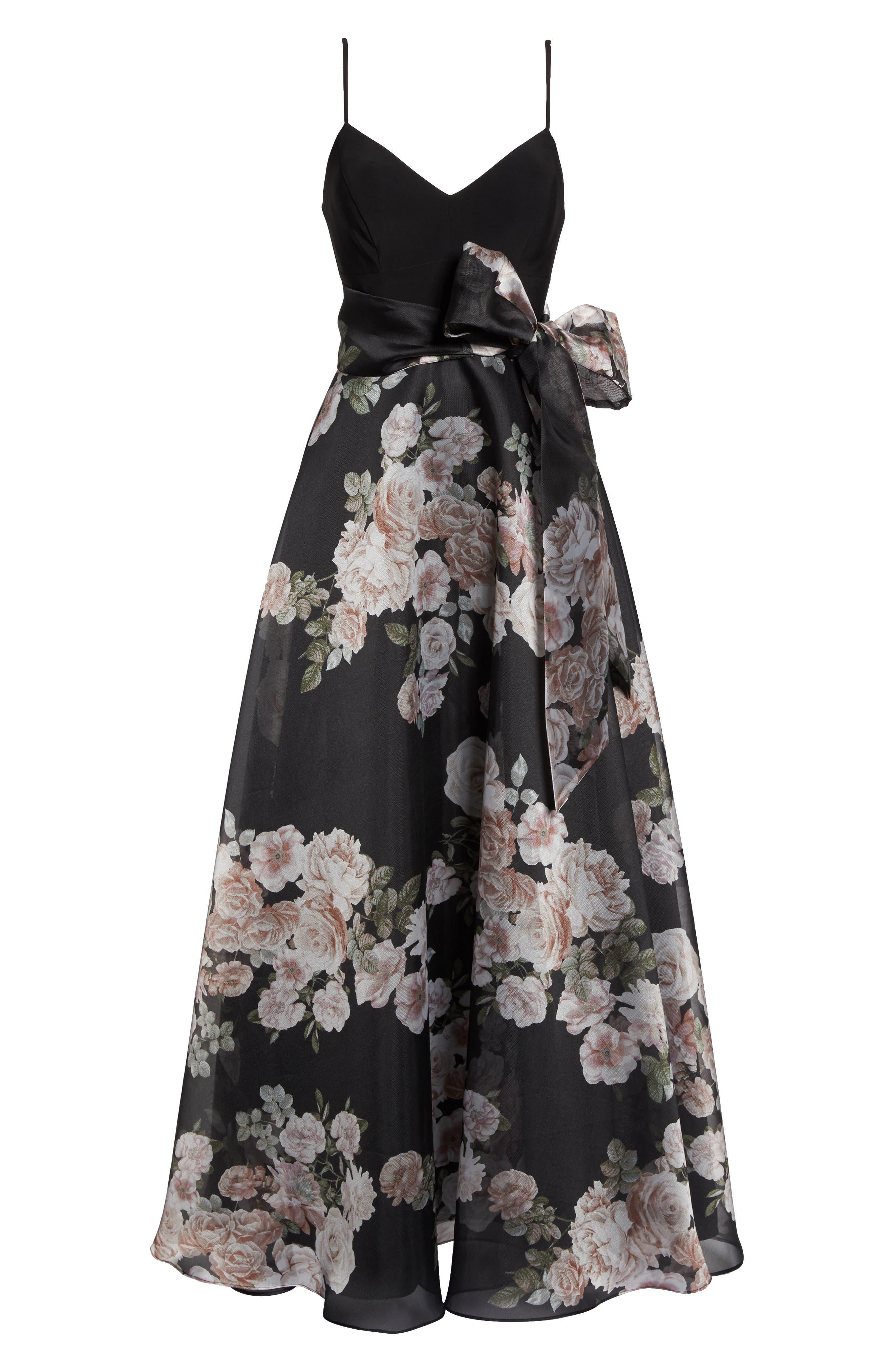 Knit & Print Organza Ballgown,                             Alternate thumbnail 7, color,                             Black/Blush