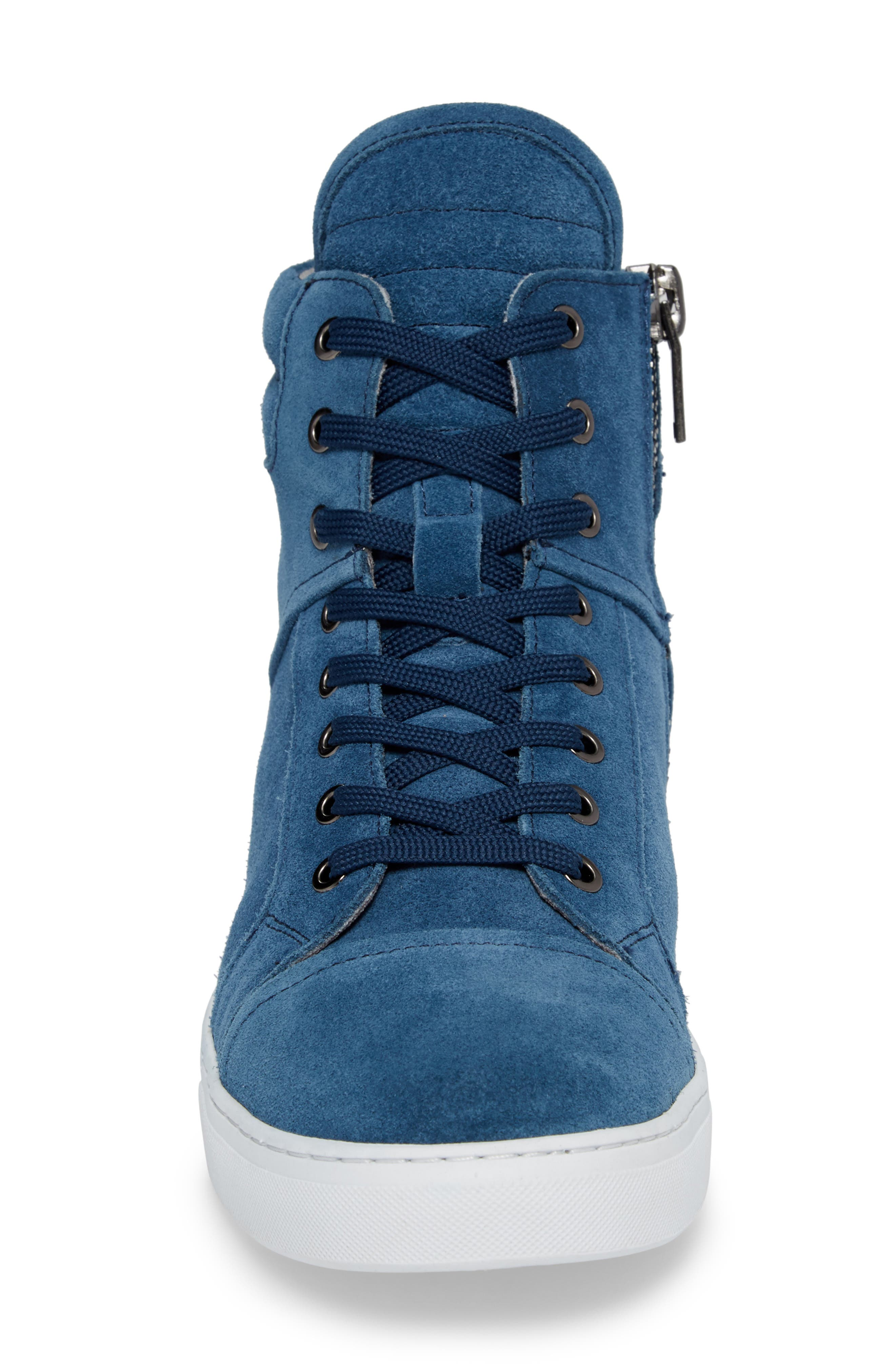 Double Header Sneaker,                             Alternate thumbnail 4, color,                             Blue Suede