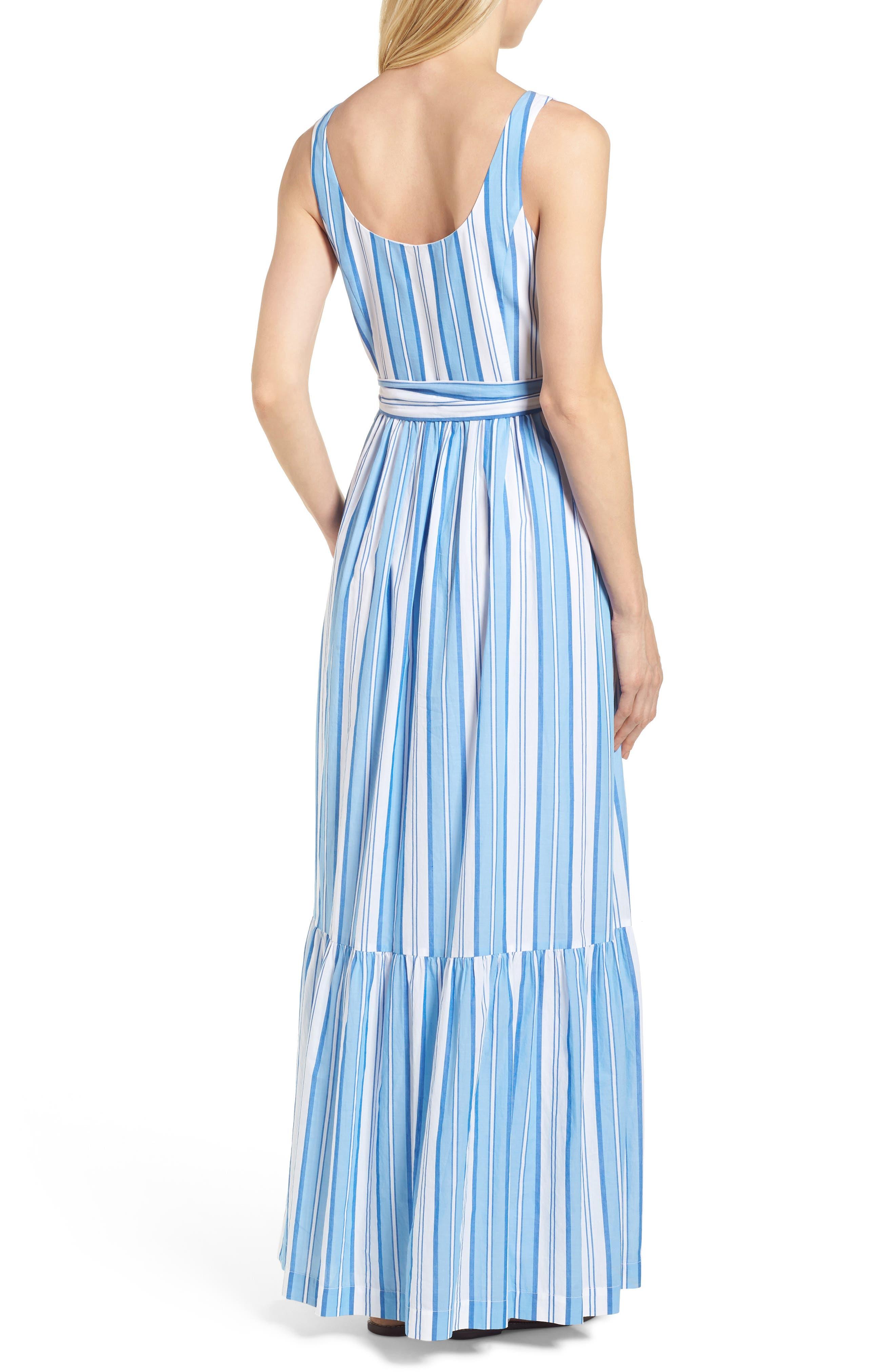 Ocean Stripe Tiered Maxi Dress,                             Alternate thumbnail 2, color,                             Blue Jay