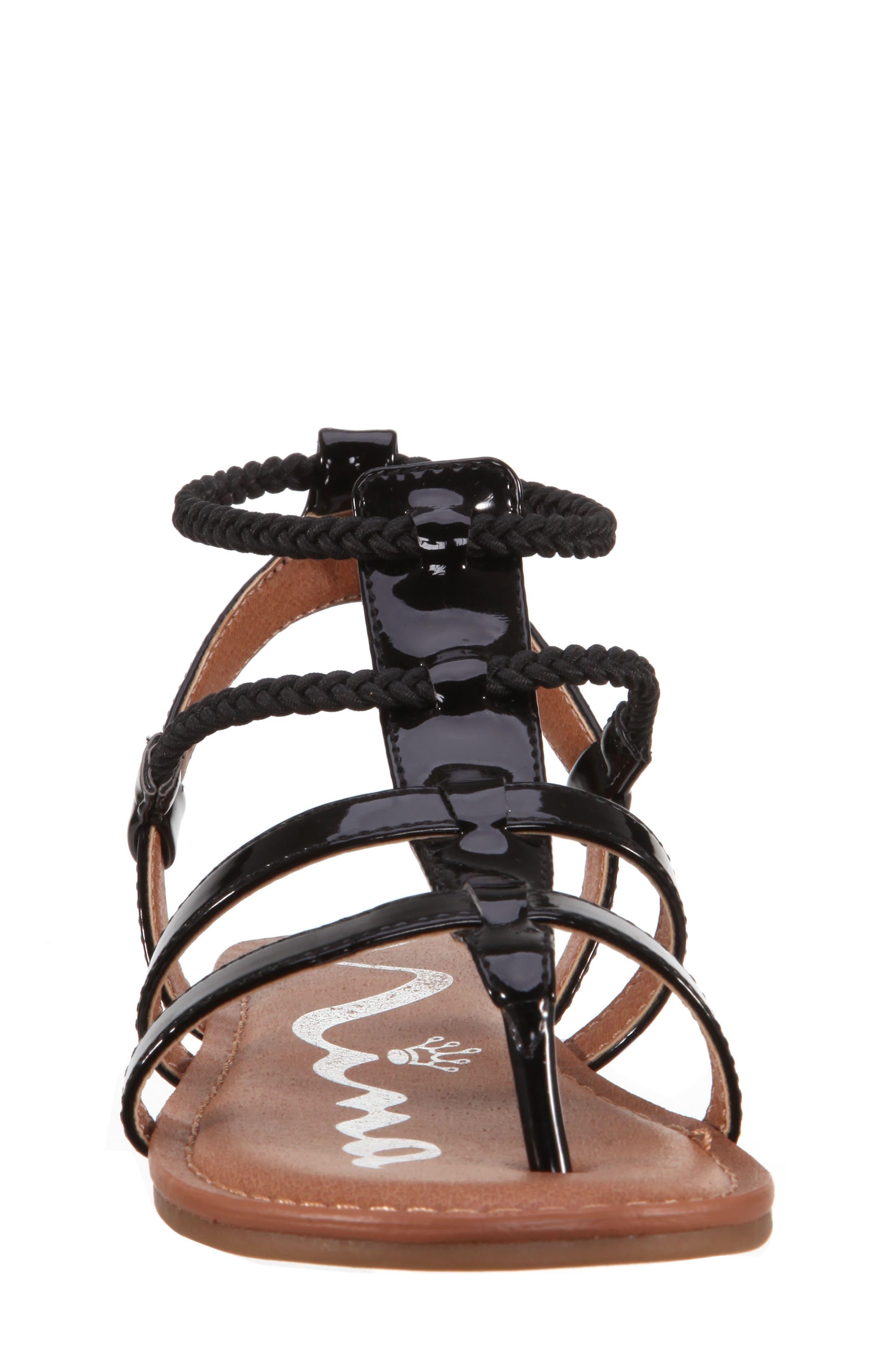 Margaree Gladiator Thong Sandal,                             Alternate thumbnail 4, color,                             Black Patent
